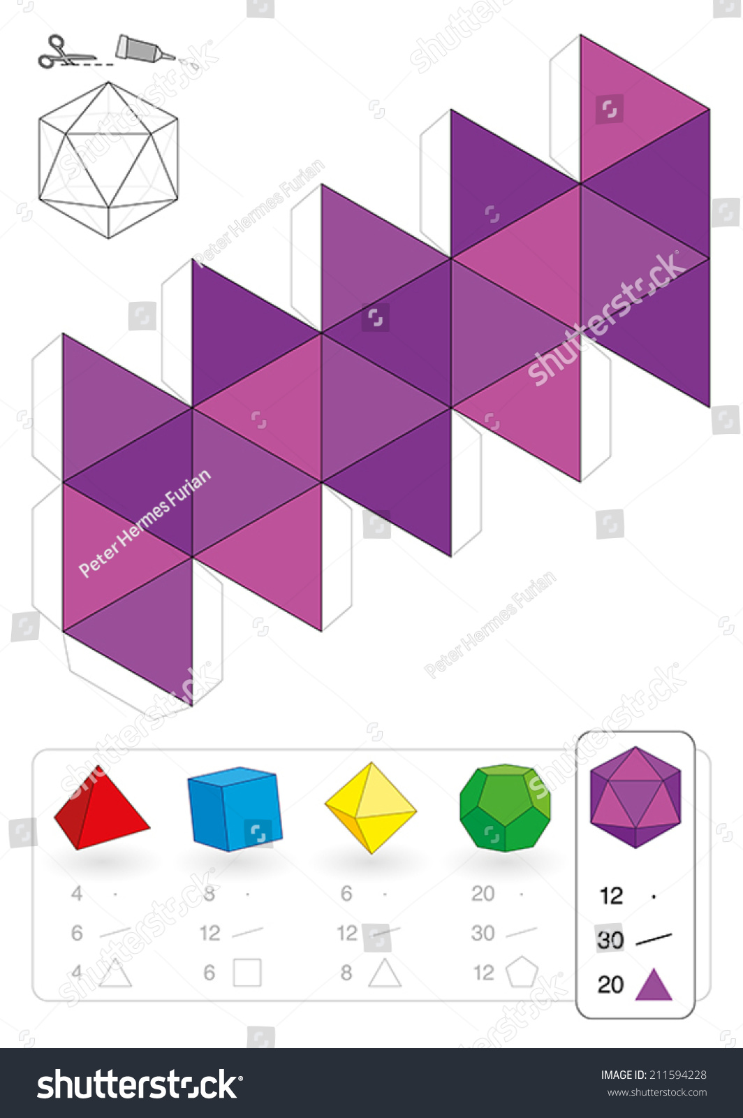 Paper Model Of An Icosahedron One Of The Five Platonic Solids To Make A Three Dimensional