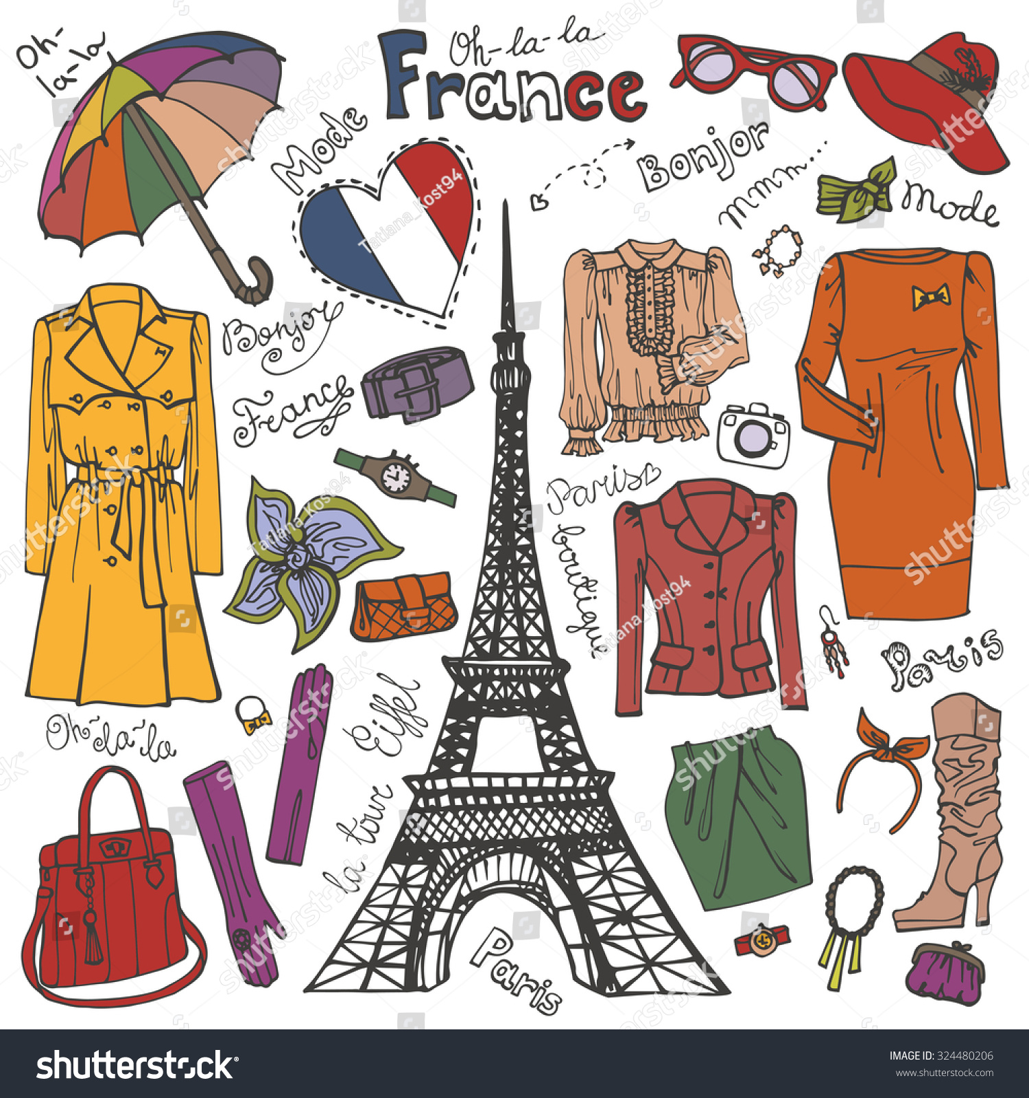 Paris Fashionclothing Accessories Eiffel Towerhand Drawing