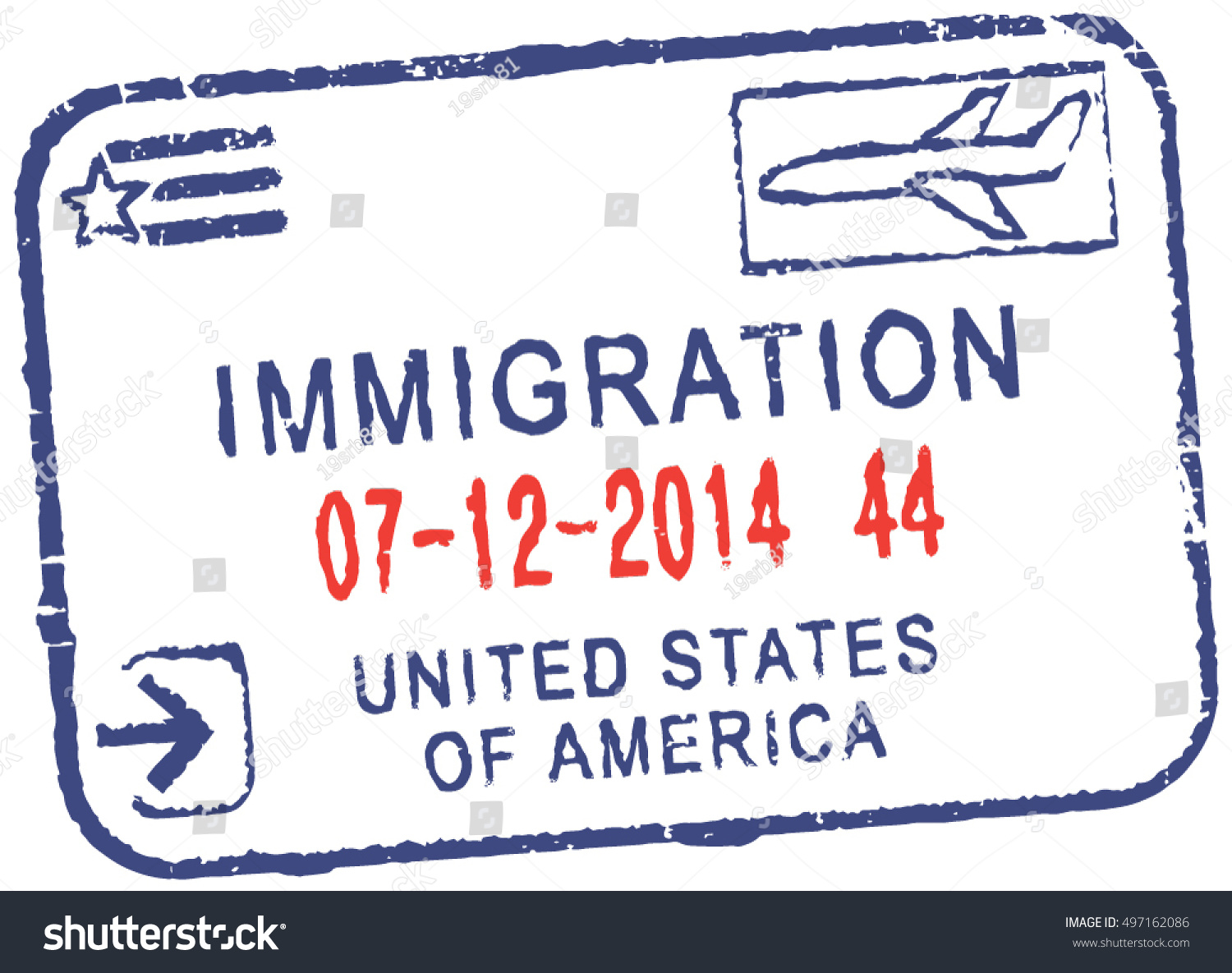 Passport Vector Stamp Immigrationunited States America