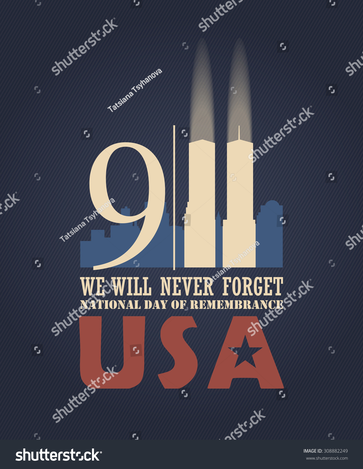 Patriot Day Vector Poster September 11 Stock Vector