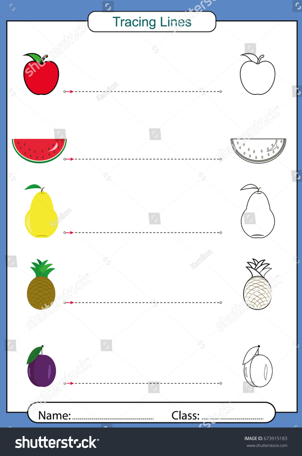 Pencil Control Working Pages Children Tracing Stock Vector
