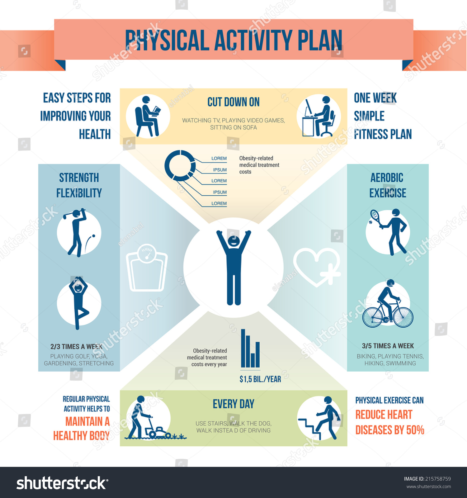 Physical Activity Plan Stock Vector