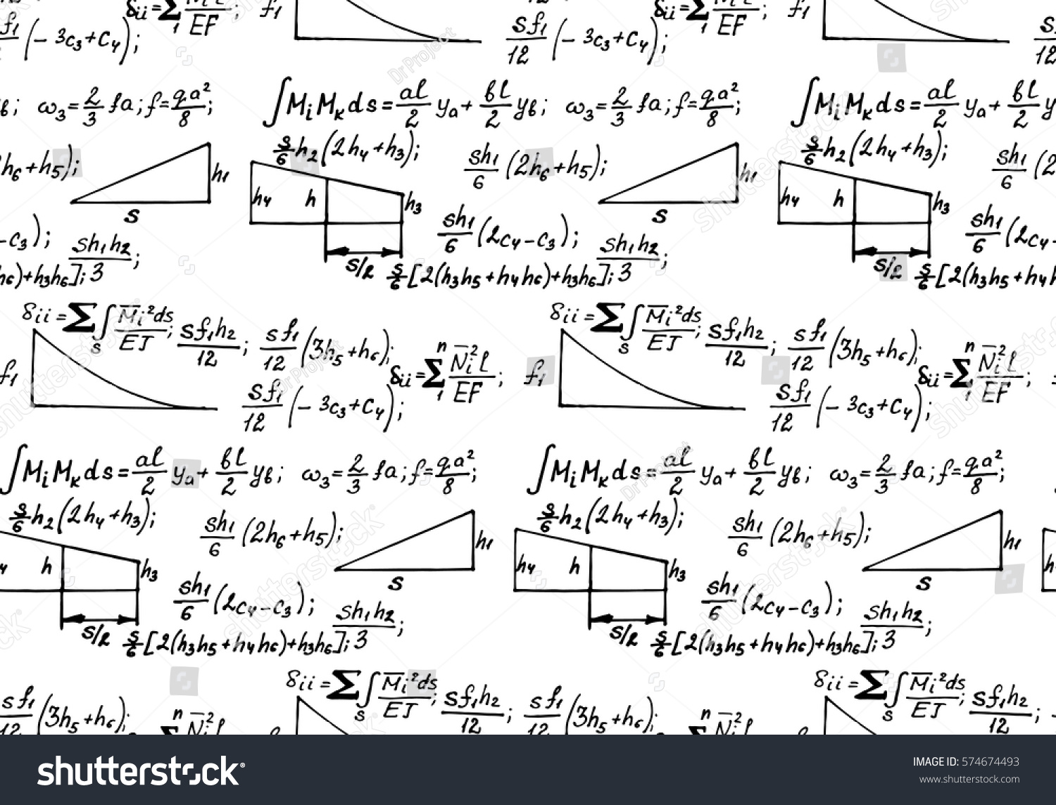 Physics Seamless Pattern Equations Figures Schemes Stock