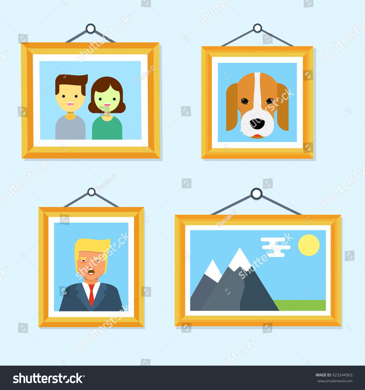 Pictures Wooden Frames Hanging On Wall Stock Vector Royalty Free 623244563