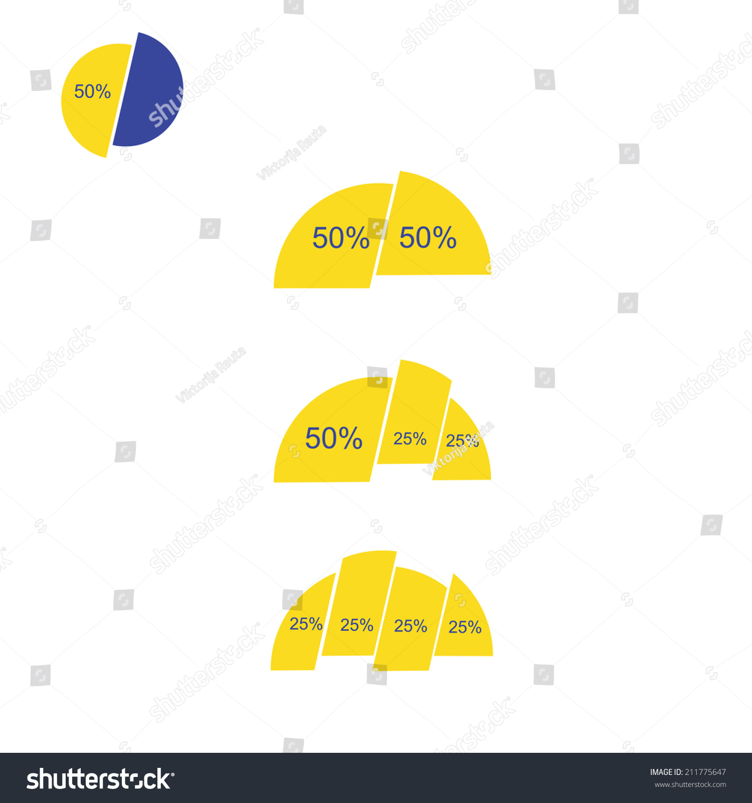 Pie Chart Slice Template Business Design Stock Vector