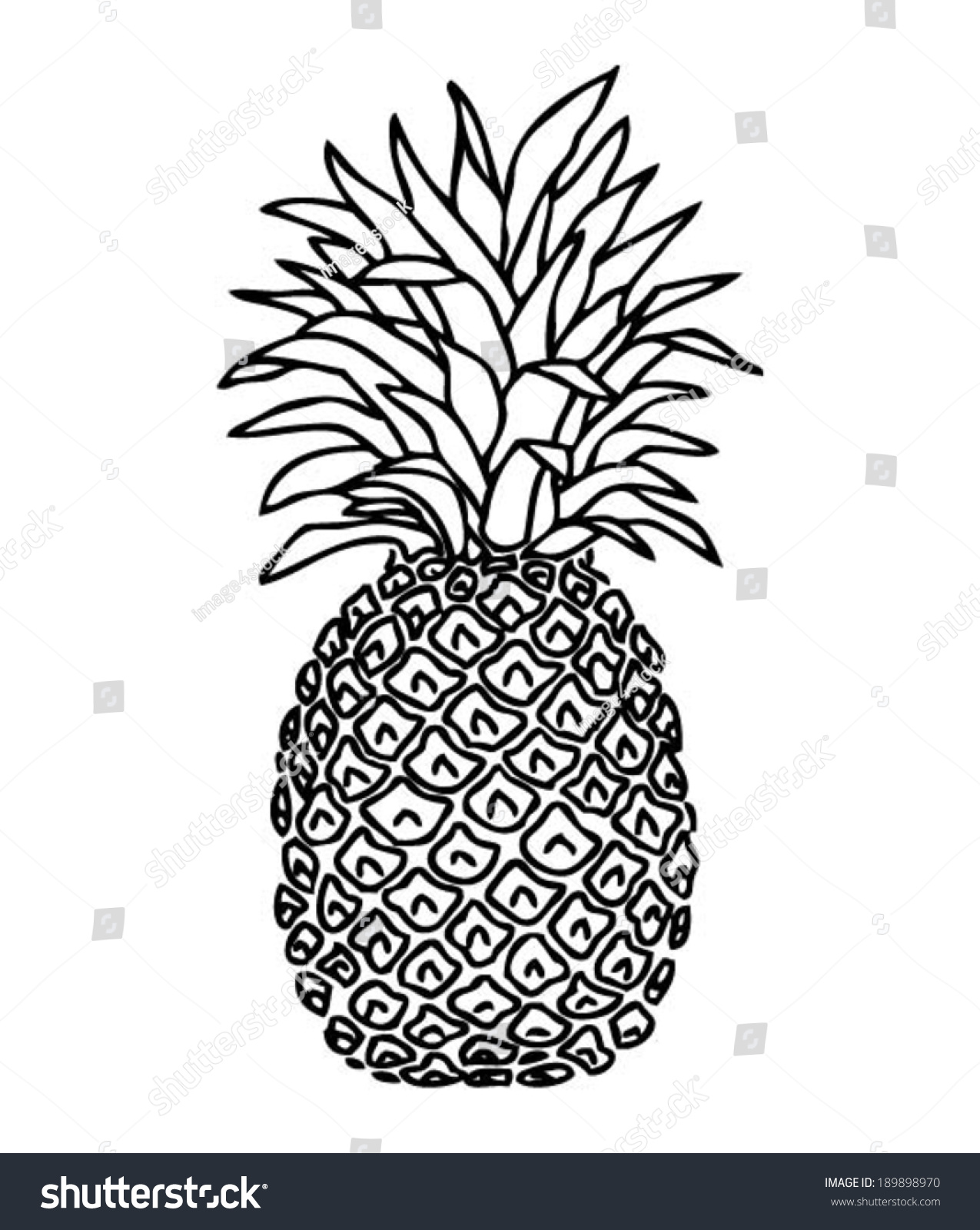 Pineapple Handdrawn Tshirt Design Cool Doodle Stock Vector