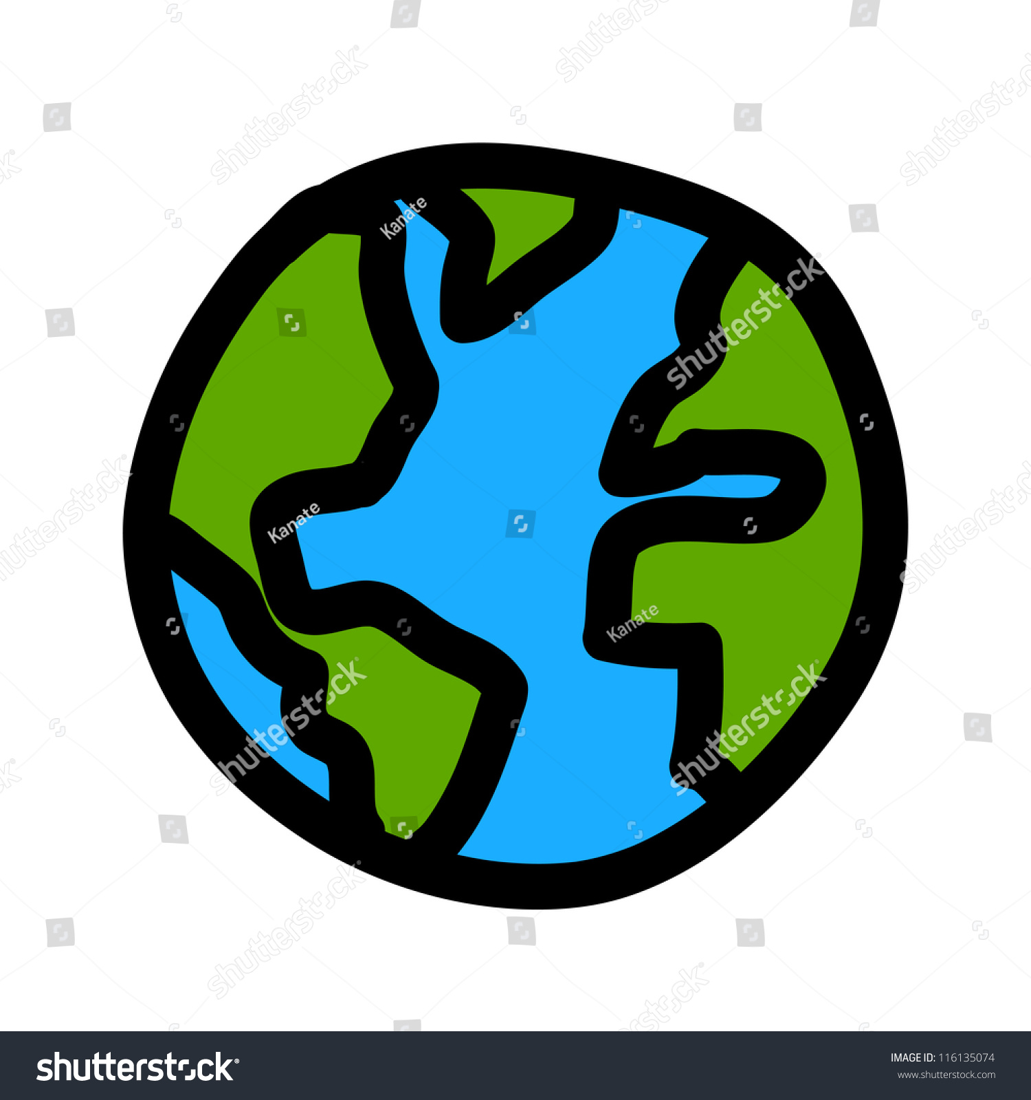 Planet Earth Hand Writing Cartoon Credit Stock Vector