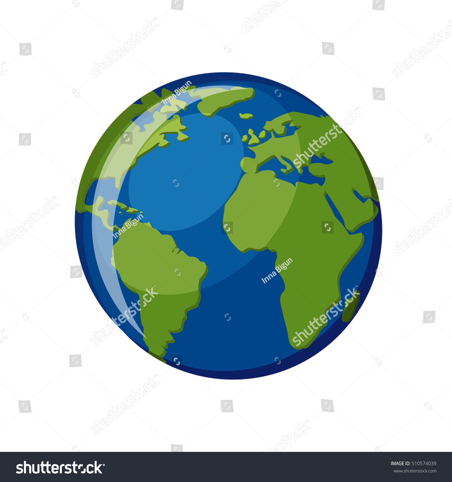Planet Earth Icon Isolated On White Stock Vector