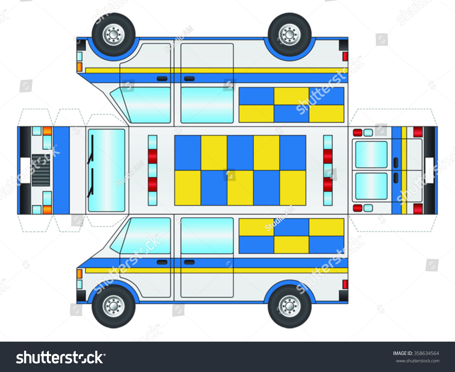 Police Van Outline Cut Out Glue Stock Vector