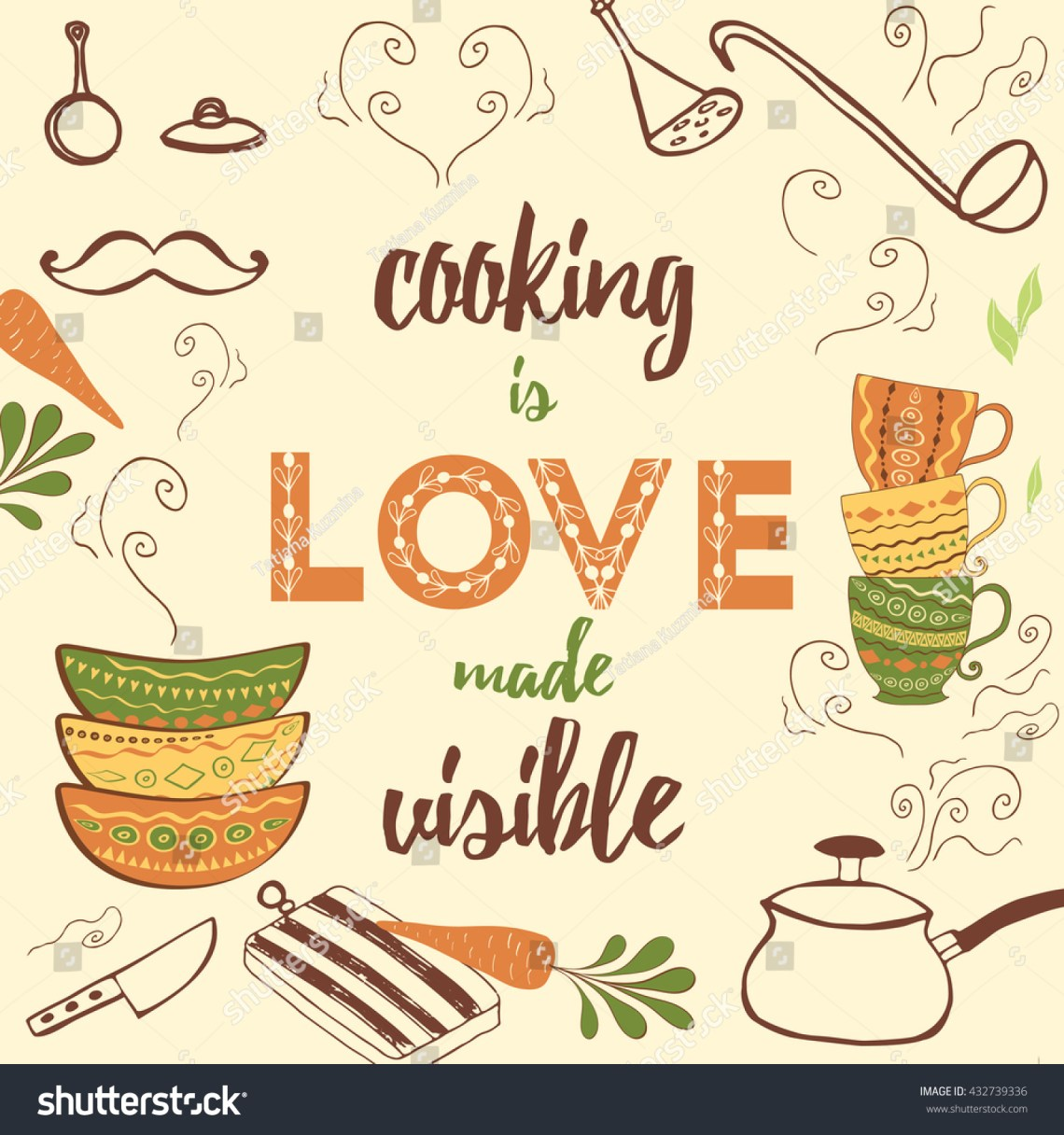 Download Positive Kitchen Quote Cooking Love Made Stock Vector ...