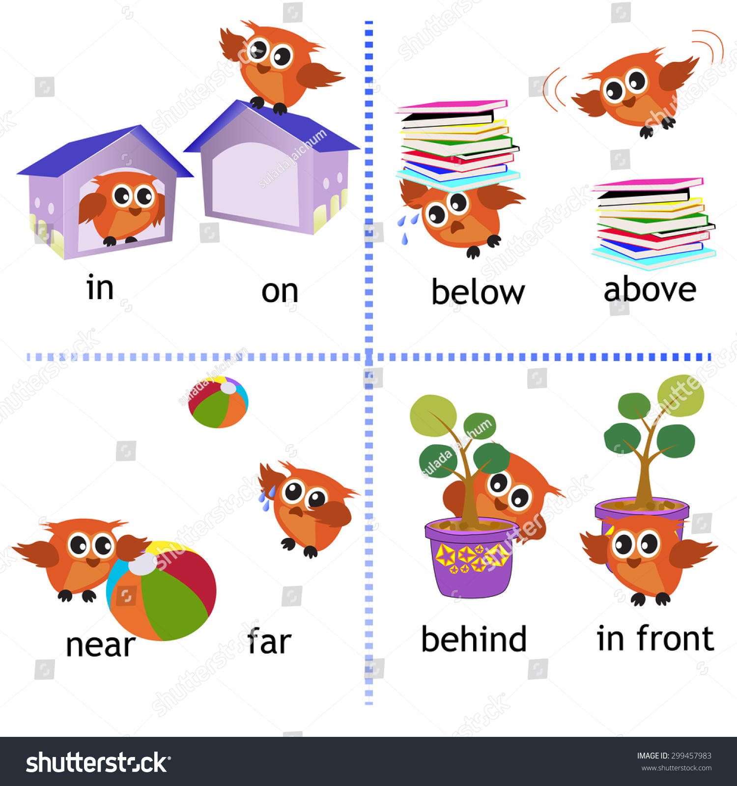 Preposition Grammar Owl Motion Preschool Stock Vector