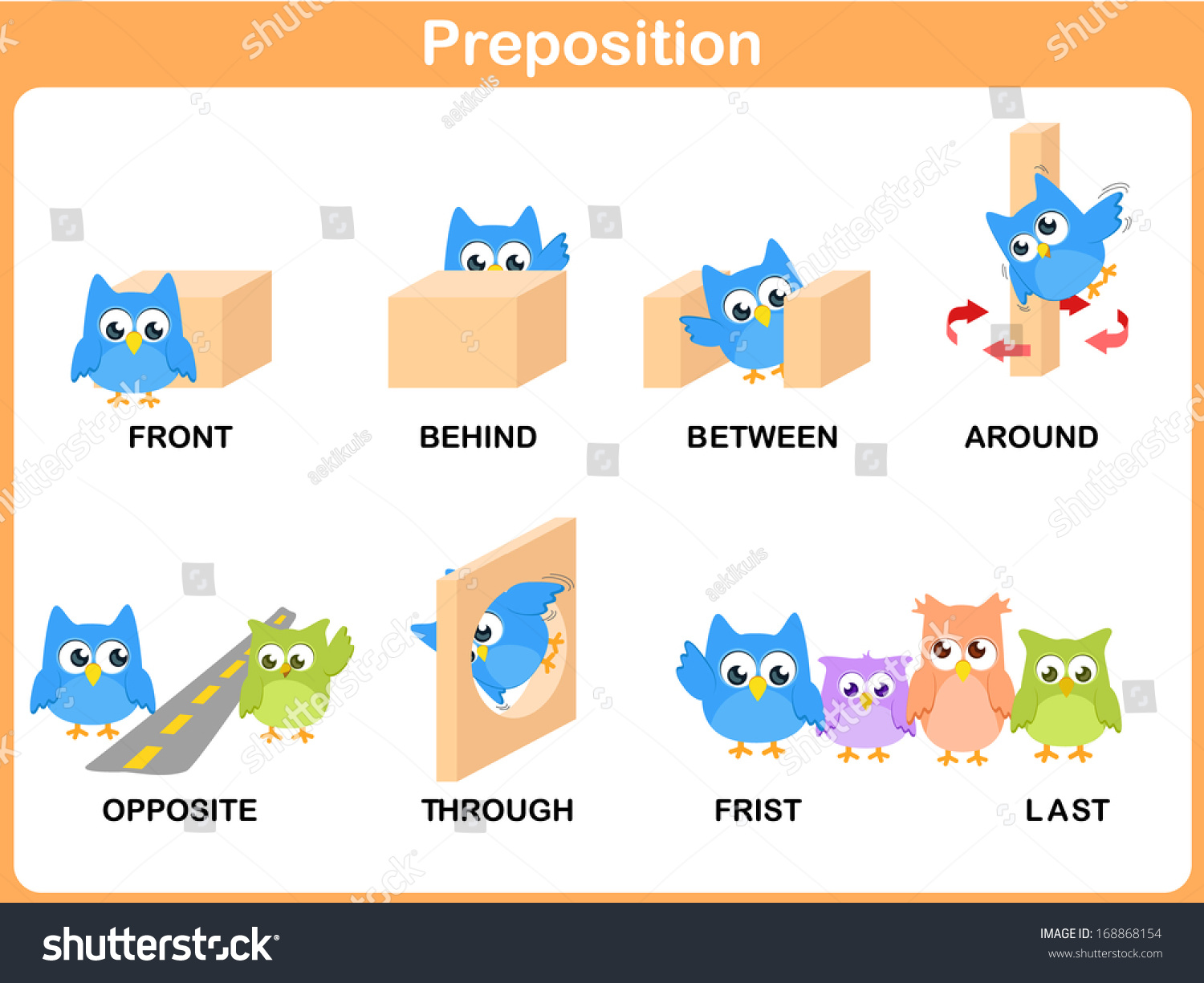 Preposition Motion Preschool Vectores En Stock