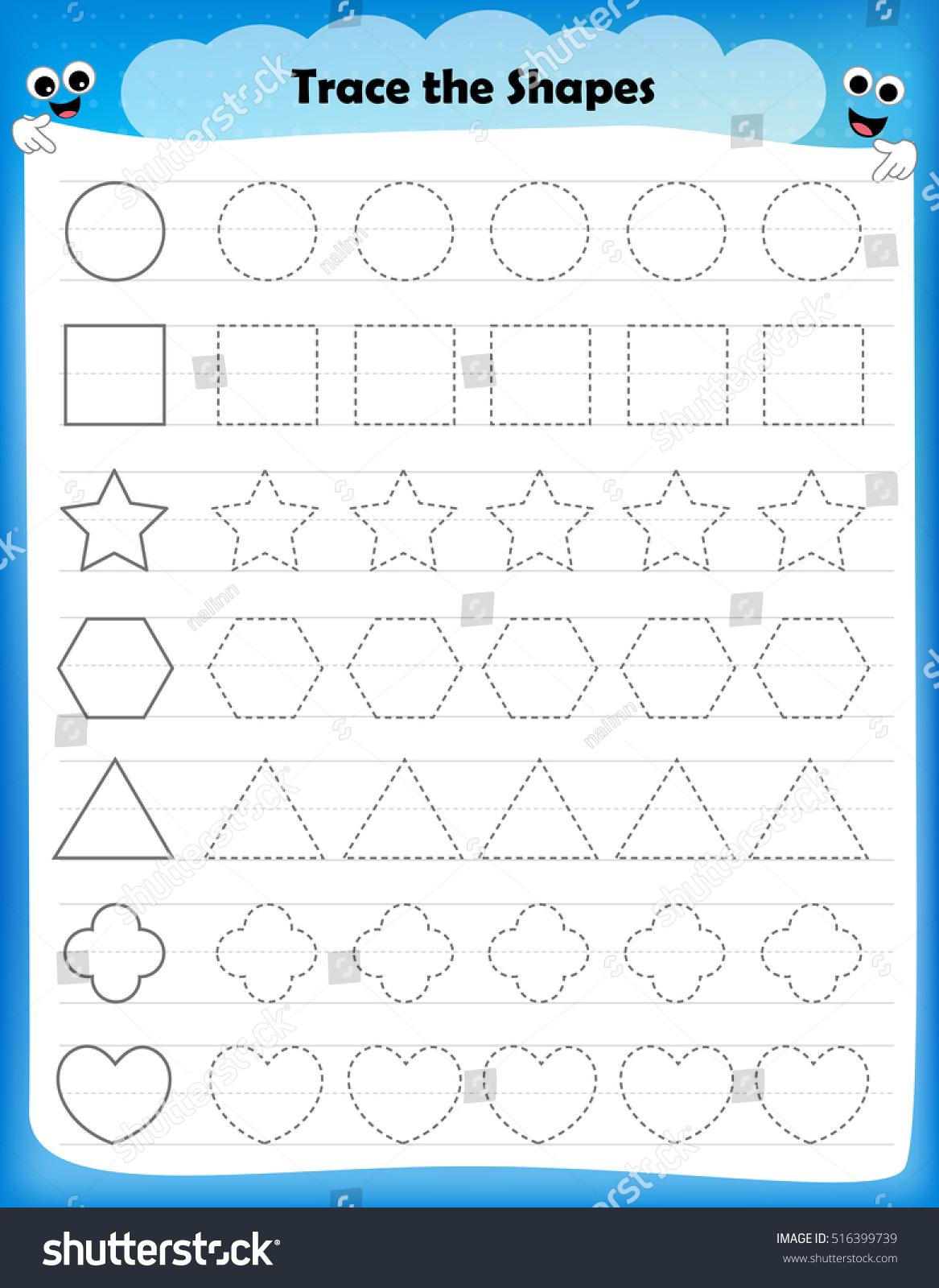 Preschool Worksheet Kids Tracing Shapes Writing Stock