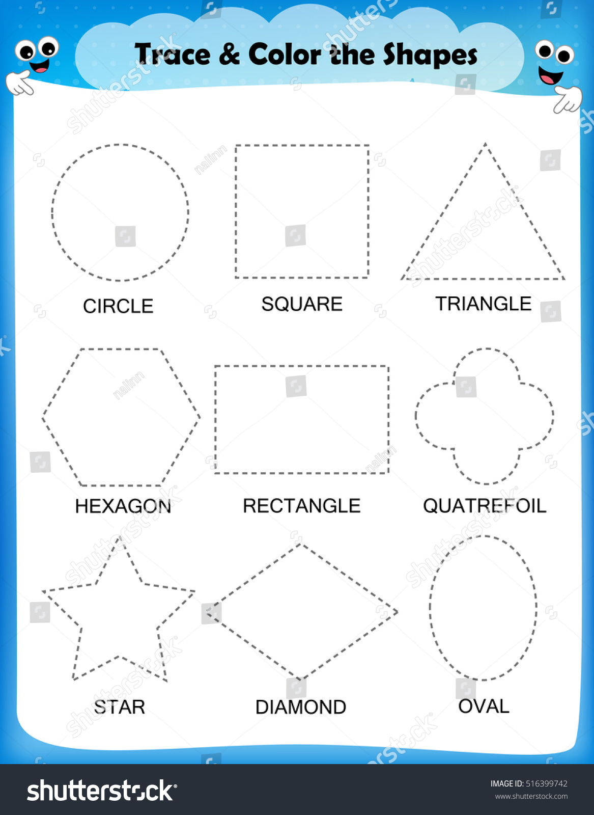 1st Grade Worksheet Shapes