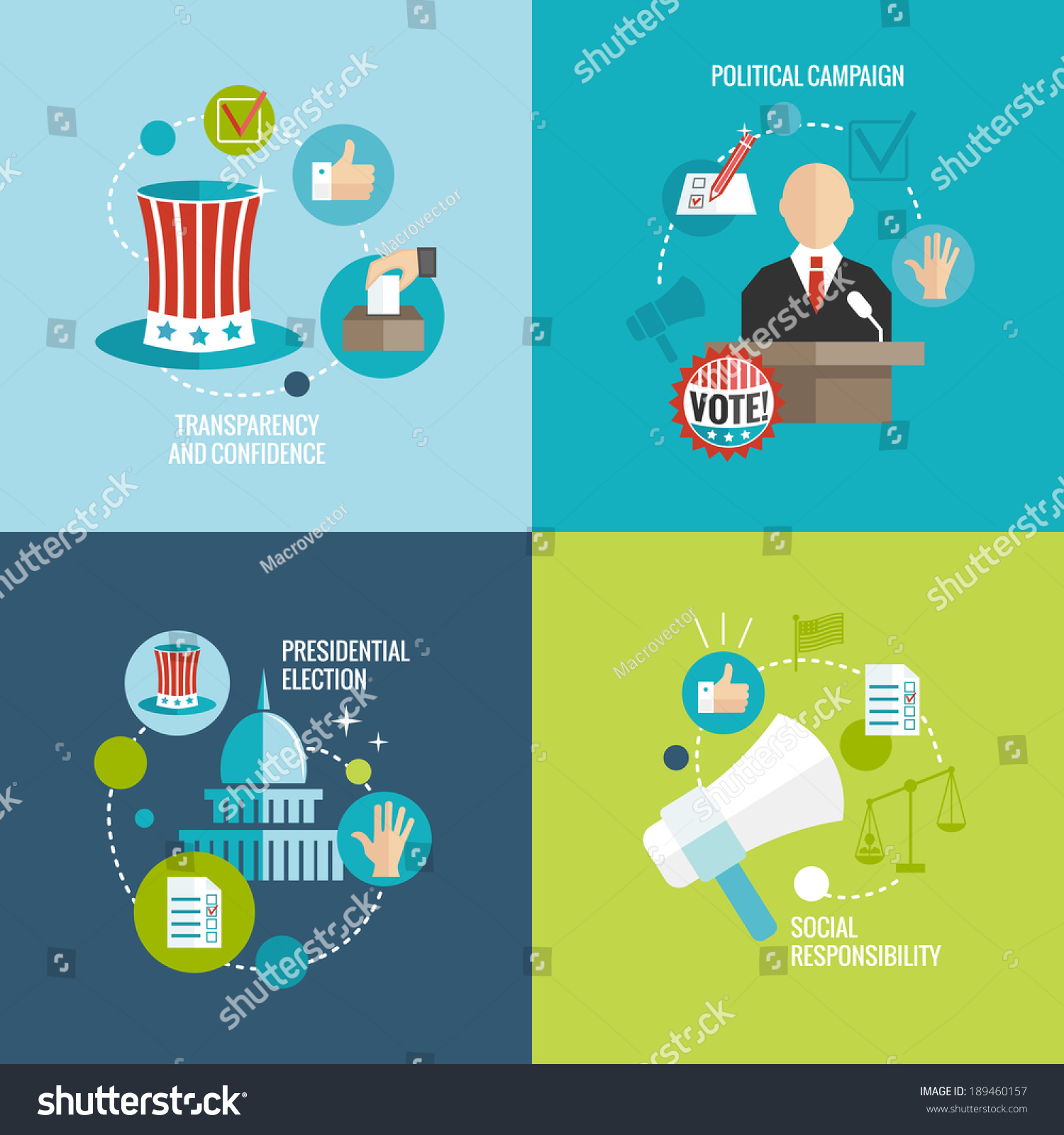 Presidential Election Transparency And Confidence Social Responsibility Political Campaign Decorative Icons Set Isolated Vector Illustration ...