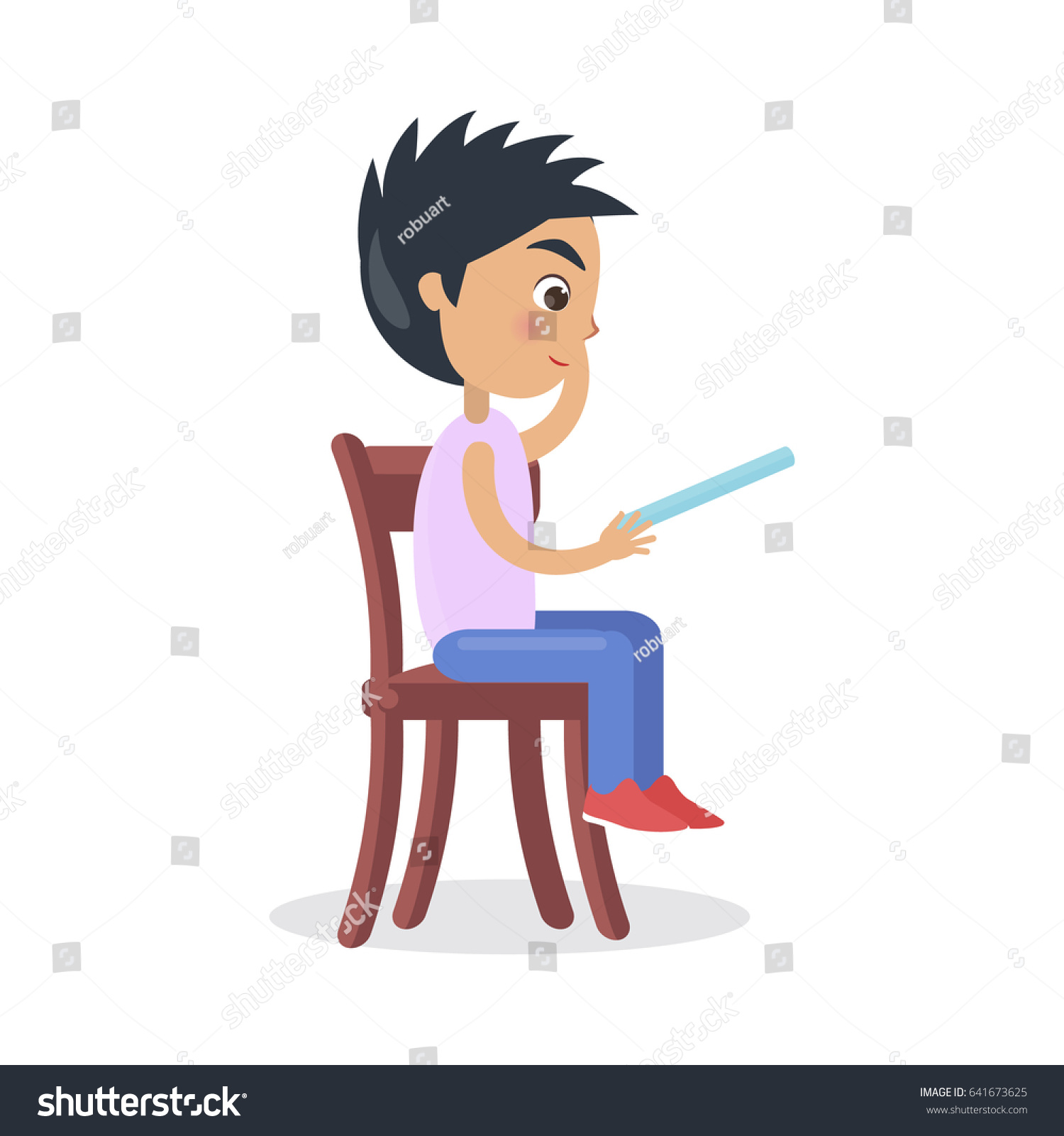 Profile Boy Sitting On Chair Reading Stock Vector