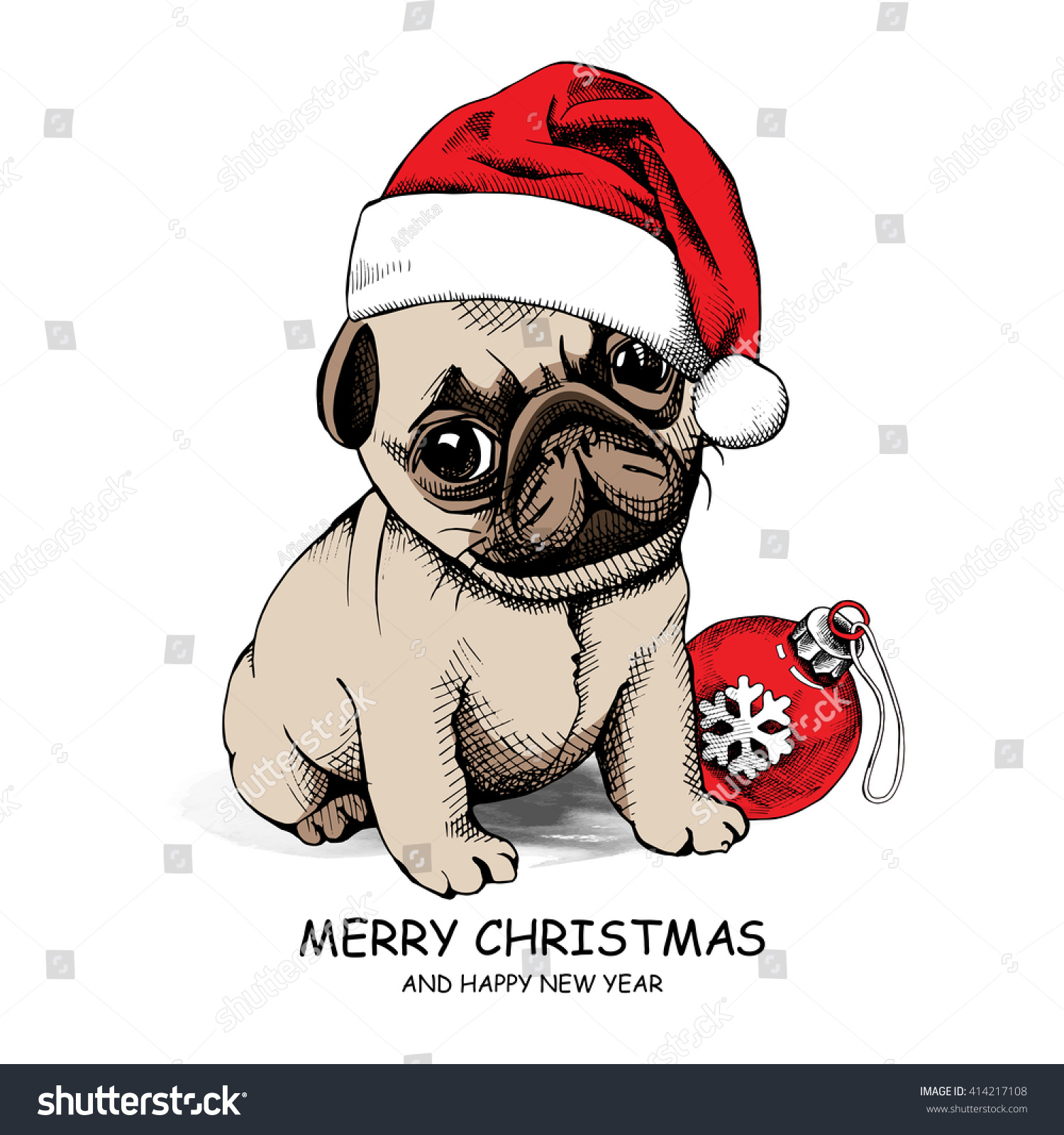 Puppy Pug Santas Hat Christmas Toy Stock Vector 414217108