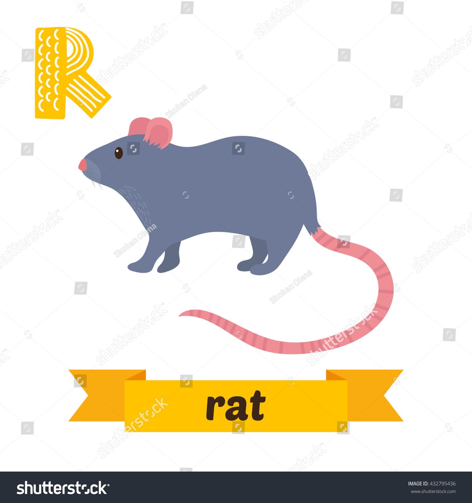 Rat R Letter Cute Children Animal Stock Vector