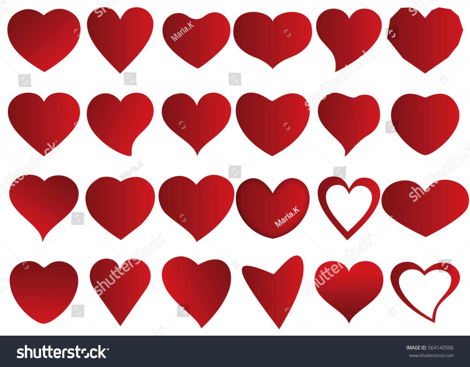 Red Heart Vector Icon Background Set Stock Vector