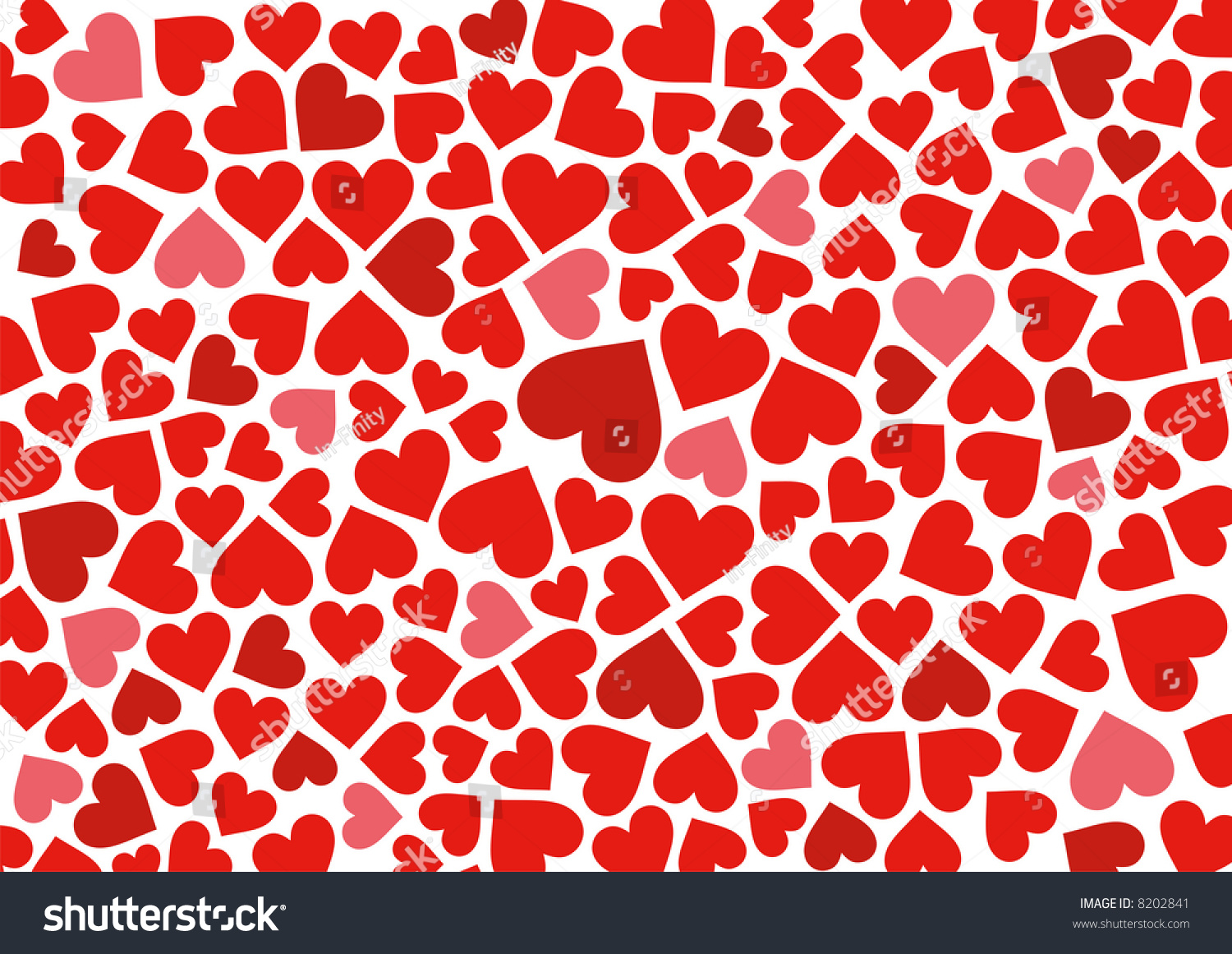 Red Hearts Background On White Vector Stock Vector 8202841