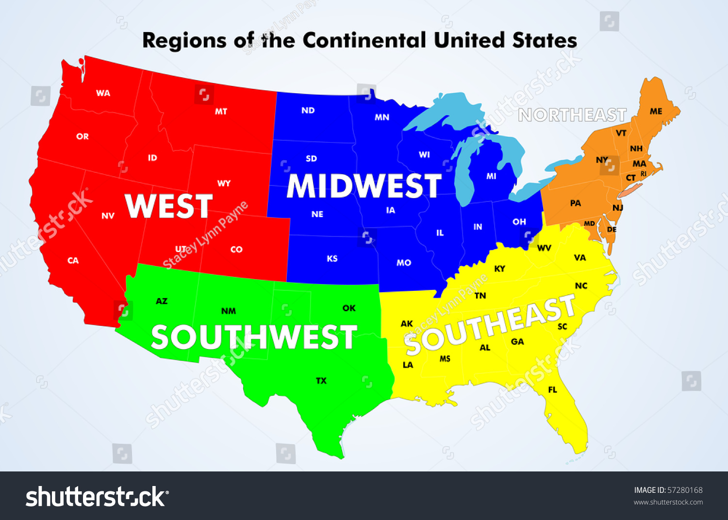 Regions Continental United States Vector Source Stock