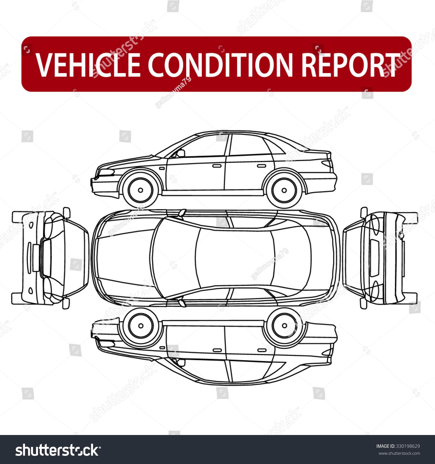 Rental Car Condition Form Vehicle Checklist Stock Vector