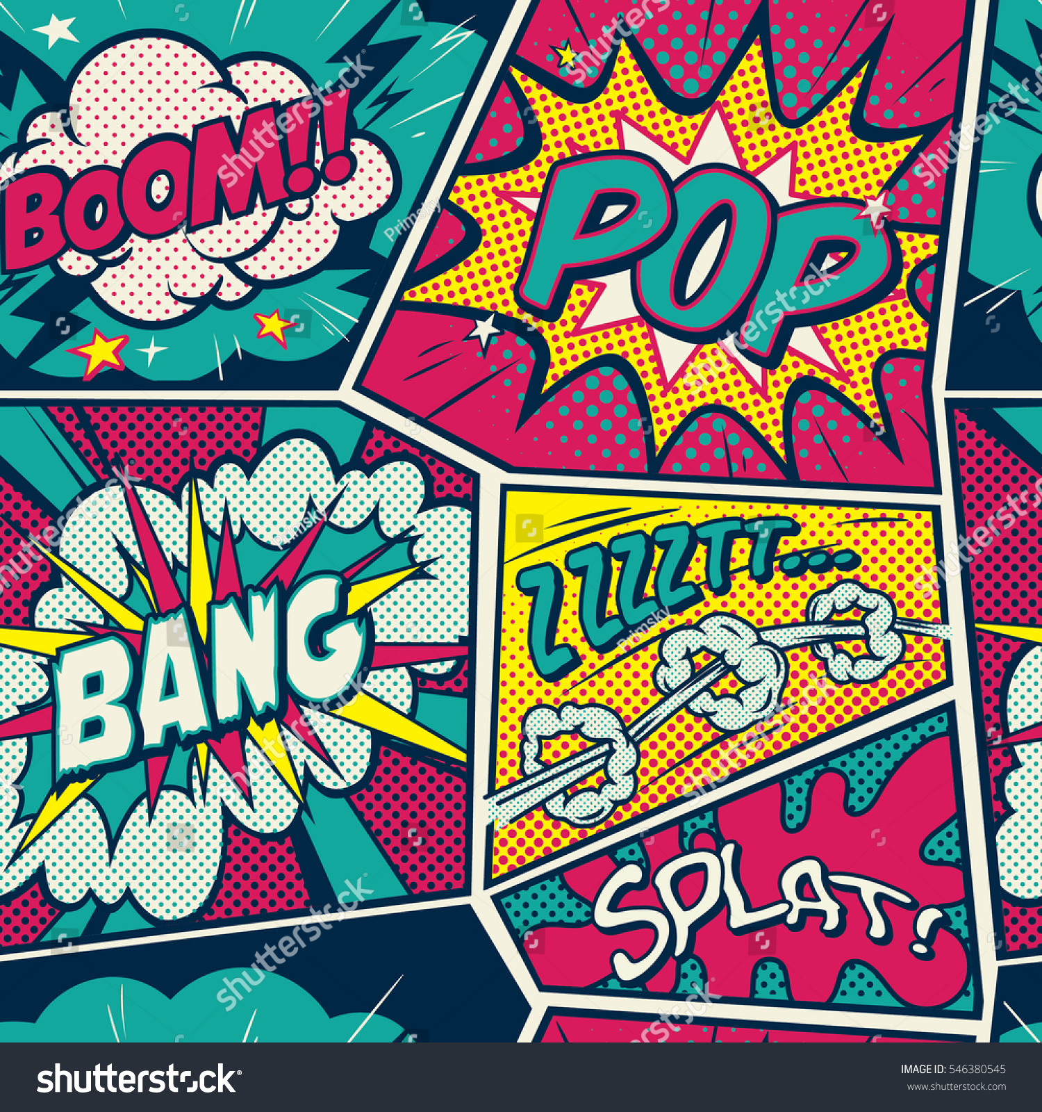 Retro Pop Art Comic Shout Seamless Stock Vector