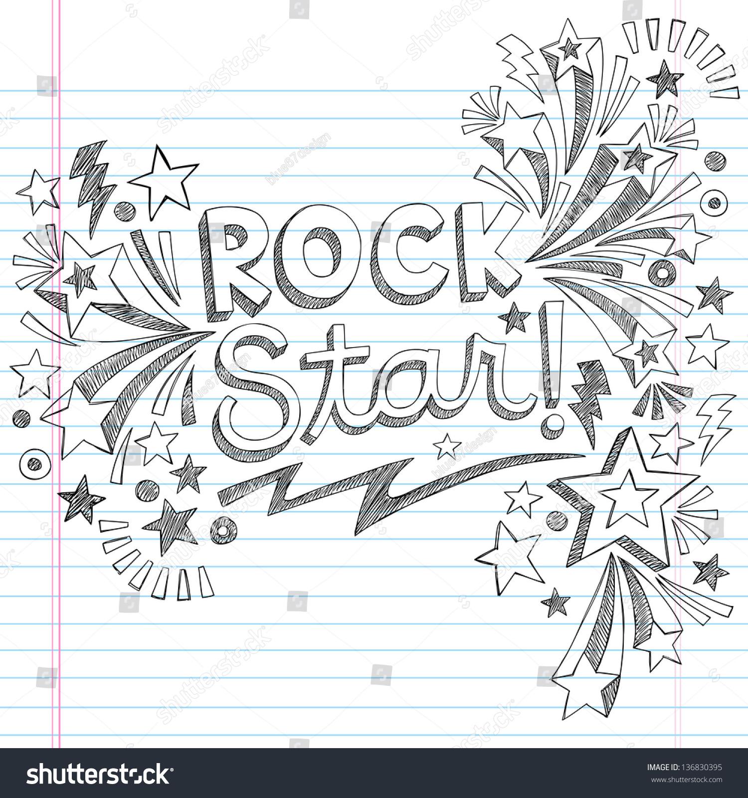 Rock Star Music Back School Sketchy Stock Vector 136830395