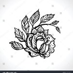 Rose Branch Tattoo Black Ink Hand Stock Vector Royalty Free 1766149646