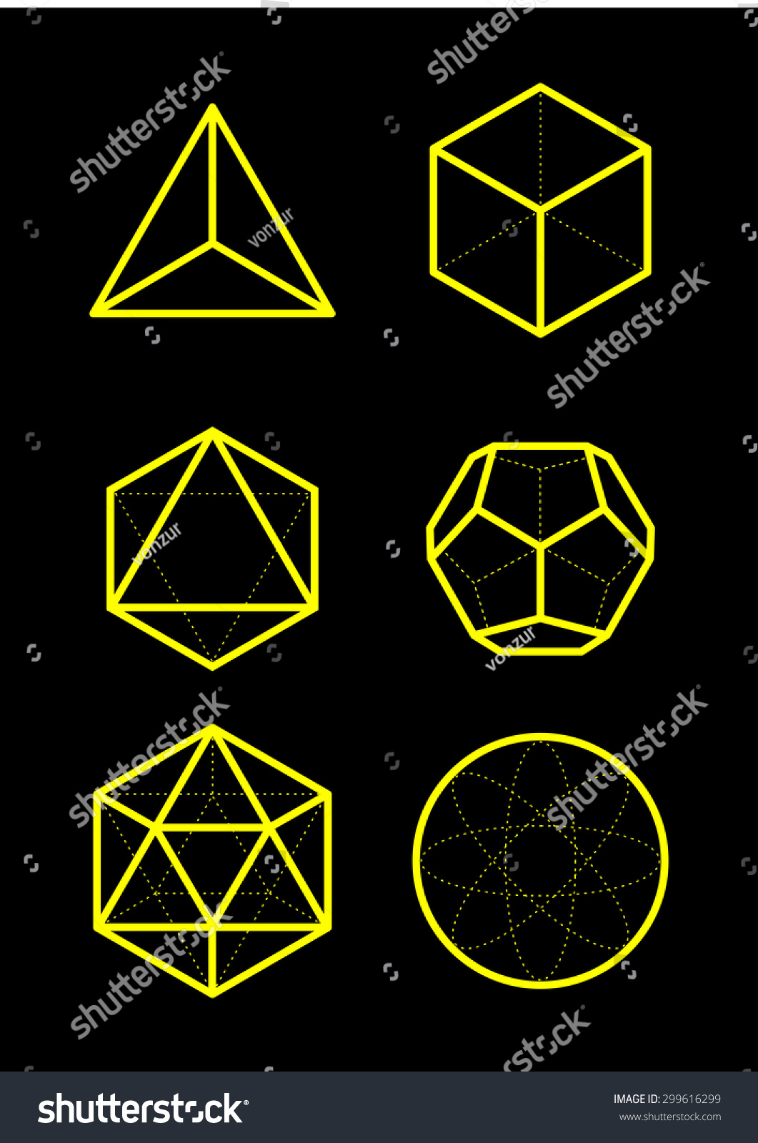 Sacred Geometry Platonic Solids Six Elements Stock Vector
