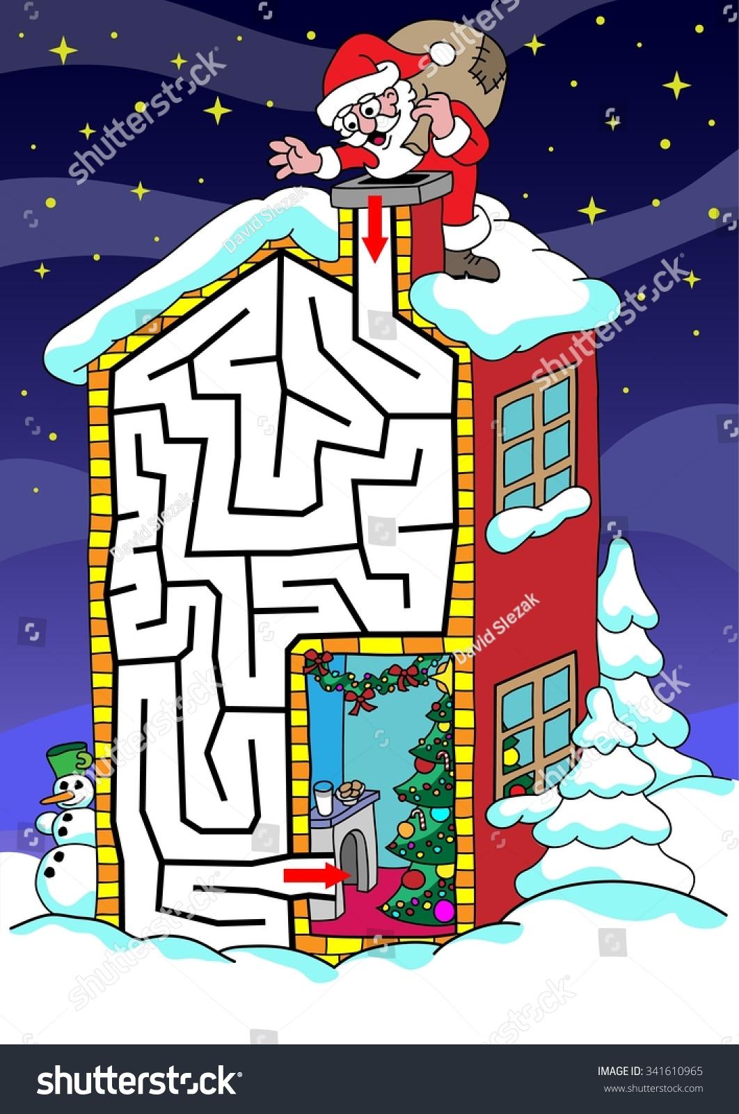 Santa Claus Labyrinth Kids Help Santa Stock Vector