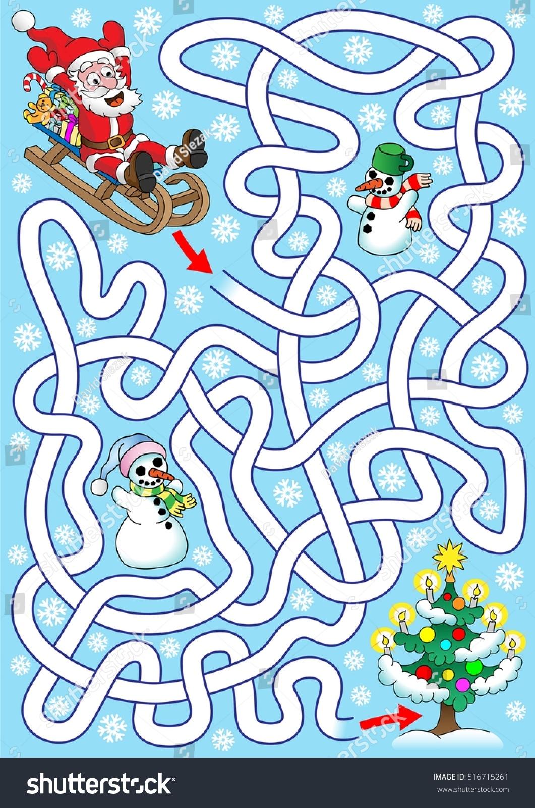 Santa On Sledges Help Santa Find Stock Vector