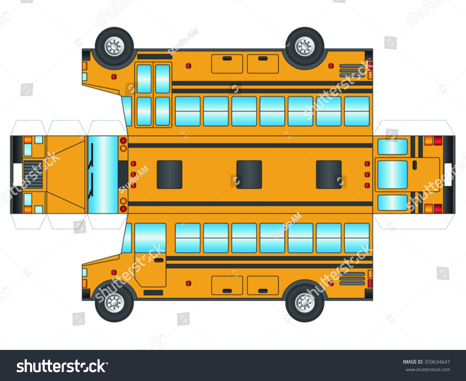 School Bus Outline Cut Out Glue Stock Vector