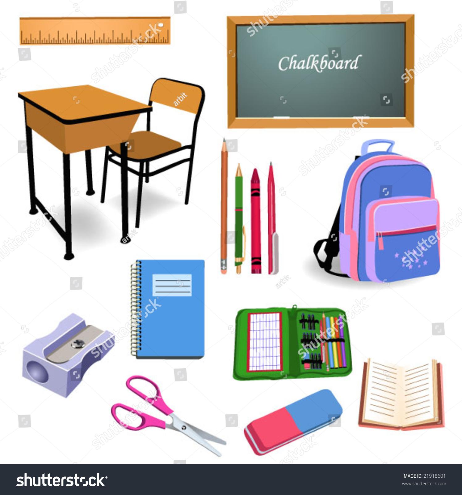 School Objects Stock Vector