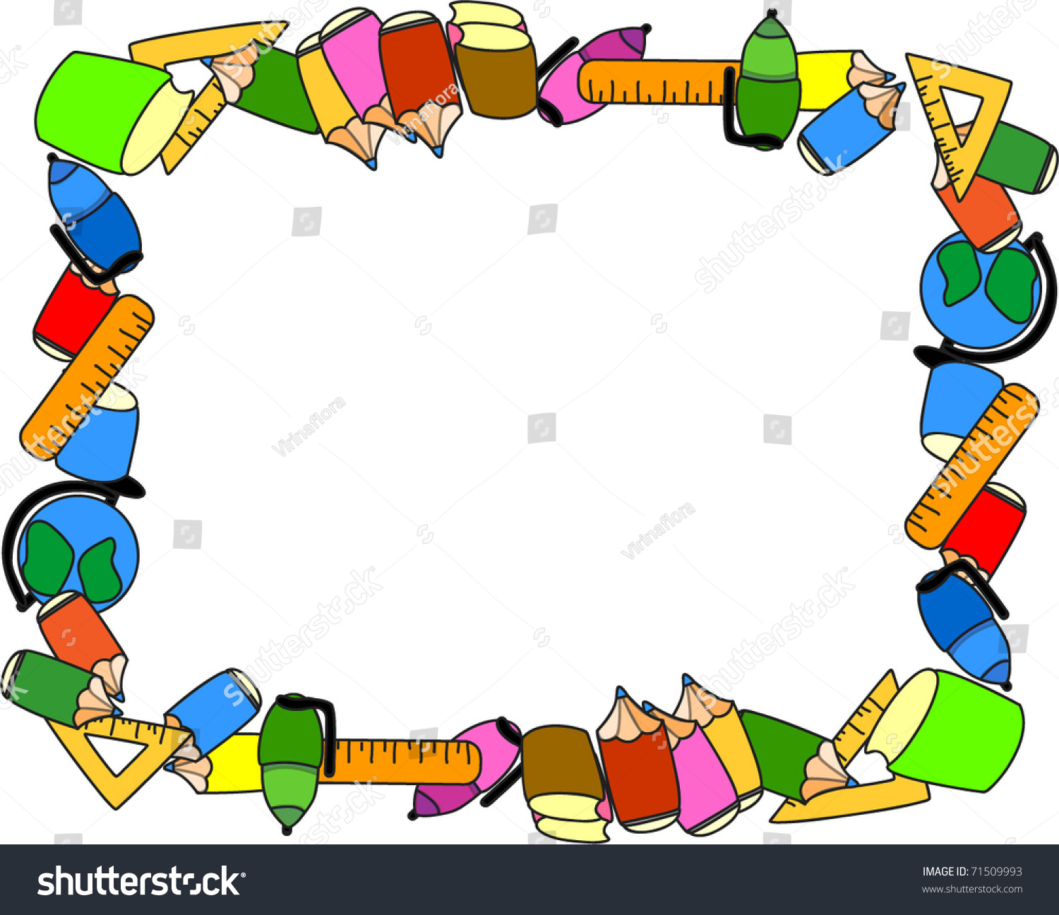 School Supplies The Frame Stock Vector Illustration