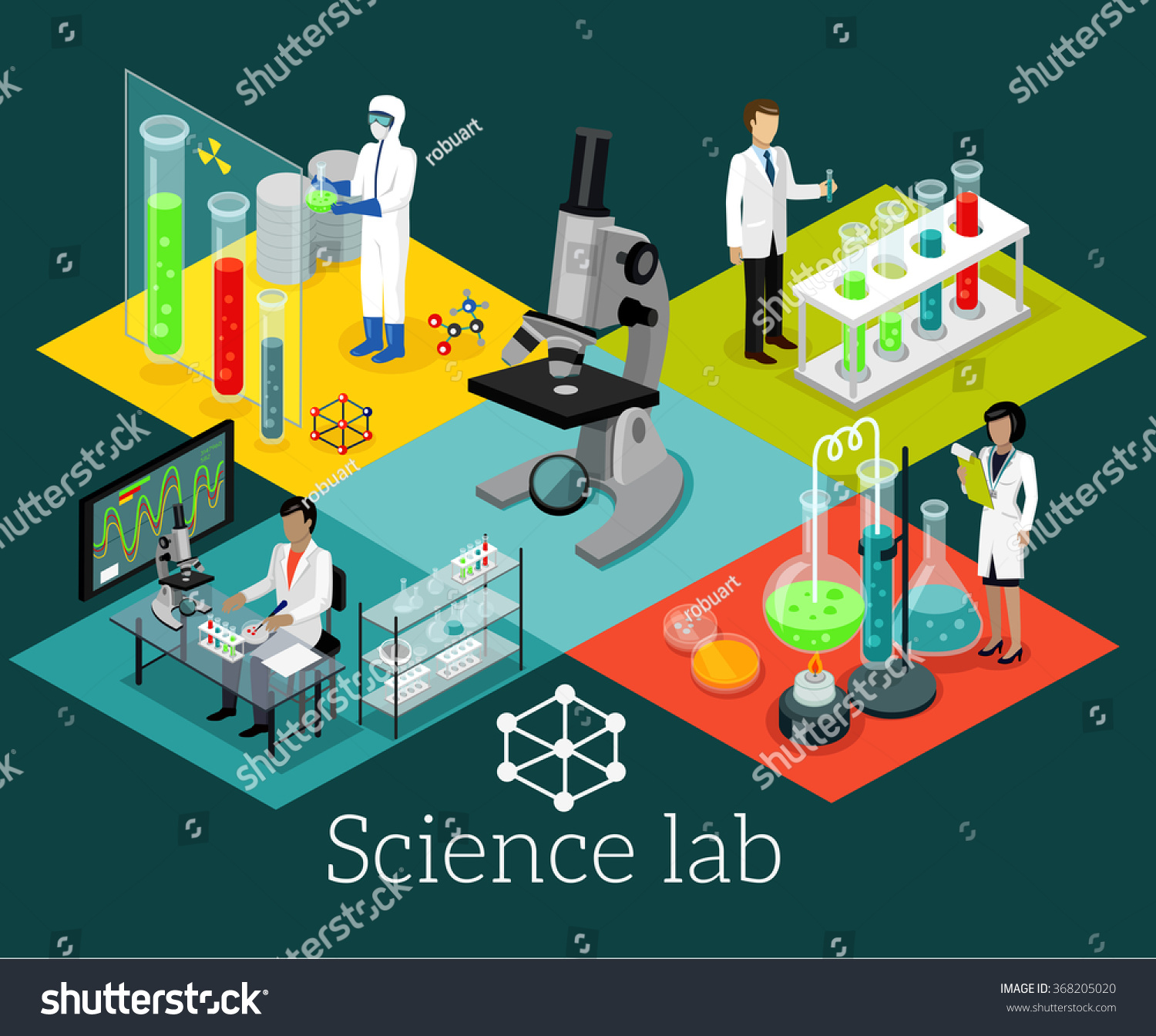 Science Lab Isometric Design Flat Science Stock Vector