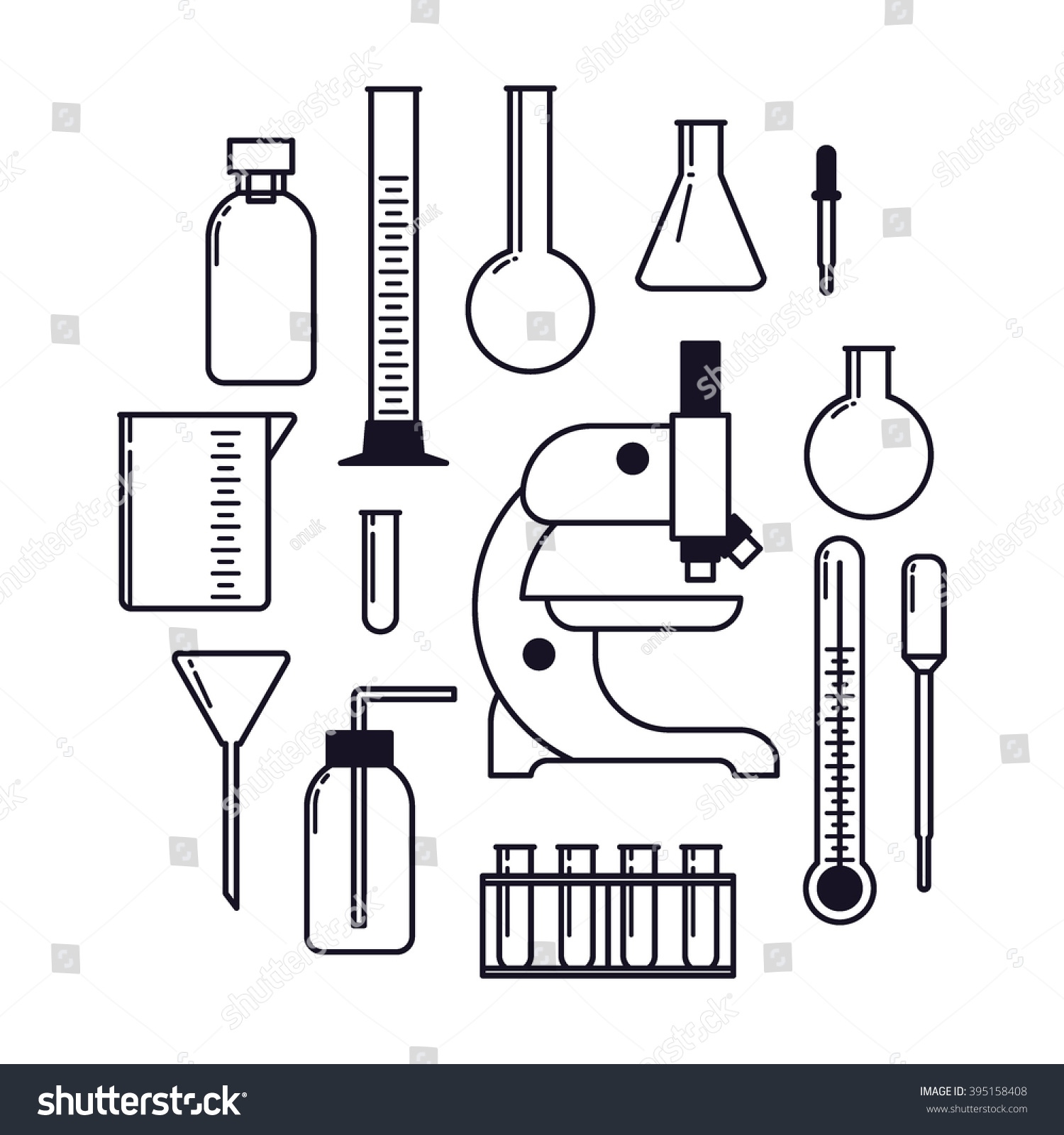 Science Lab Tools Setthin Line Vector Stock Vector