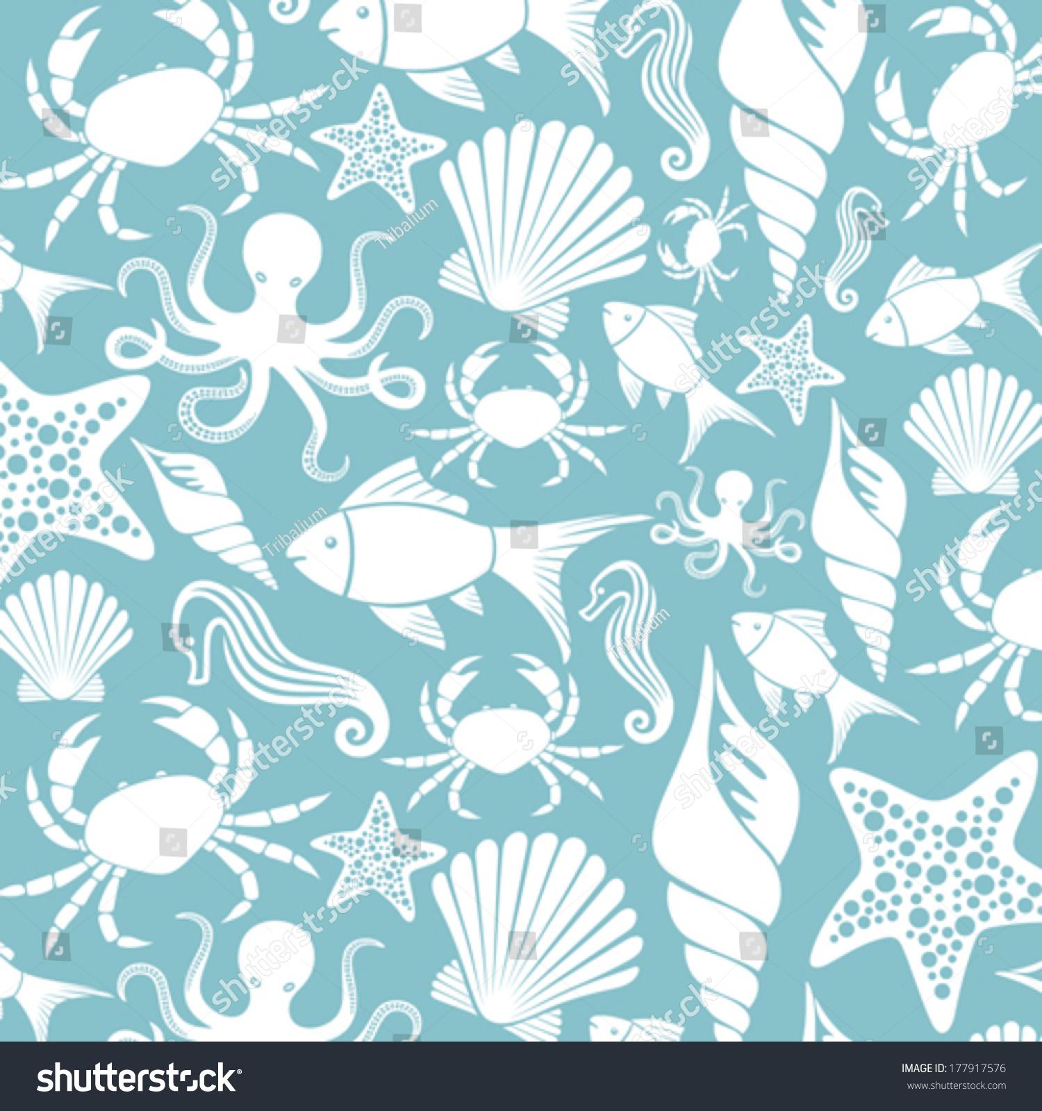 Sea Life Seamless Pattern Ocean Animals Stock Vector