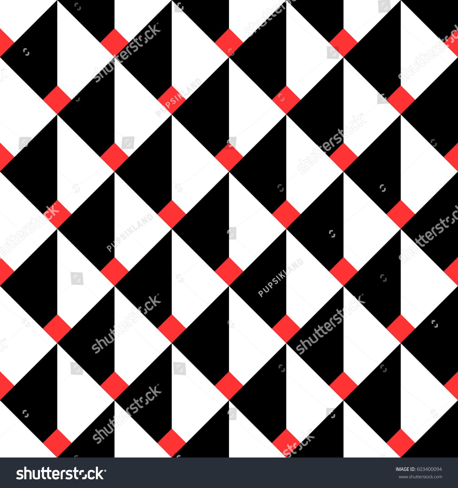 Seamless Geometric Pattern Squares Volume Black Stock