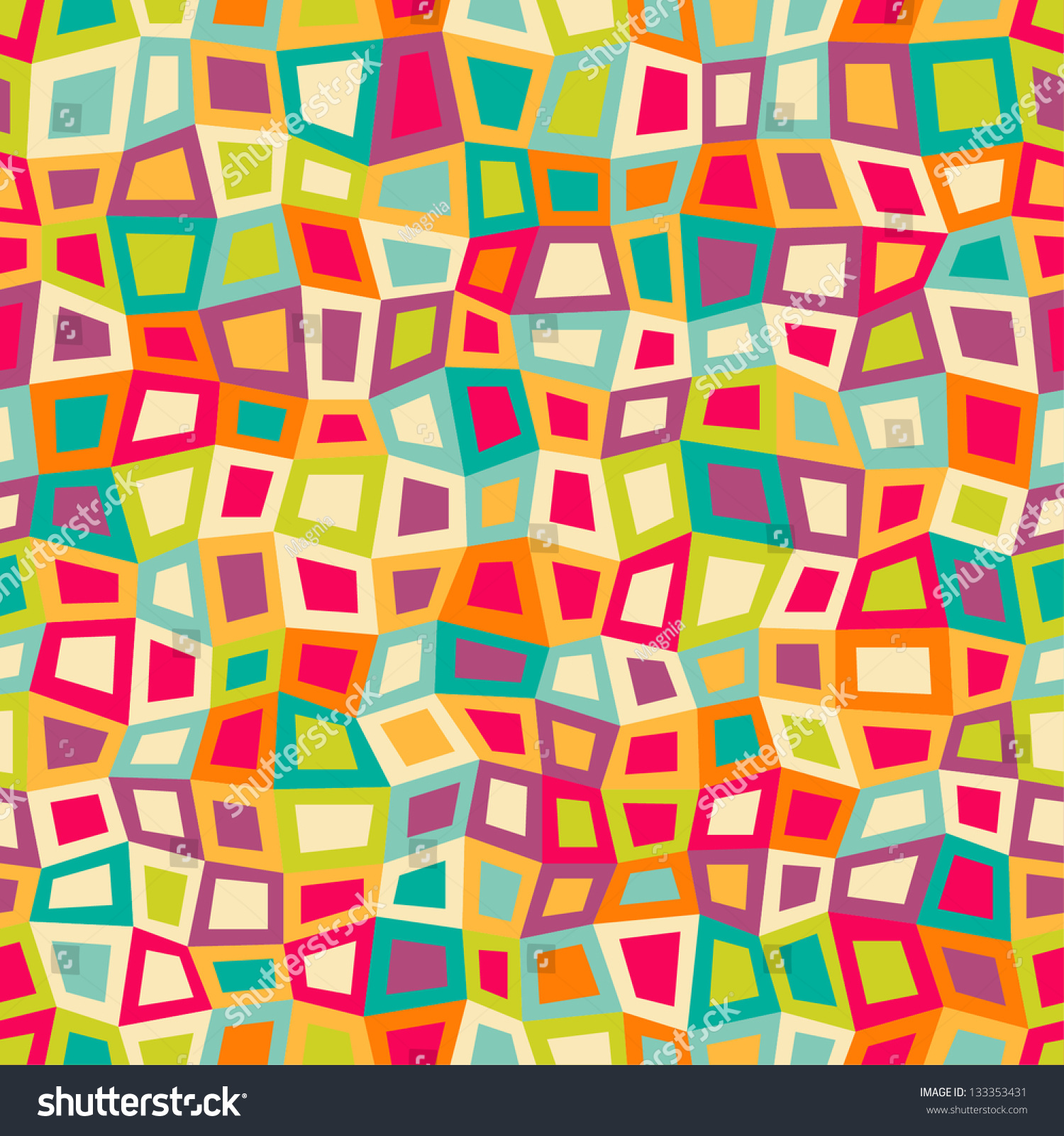 Seamless Geometric Pattern With Bright Color Squares