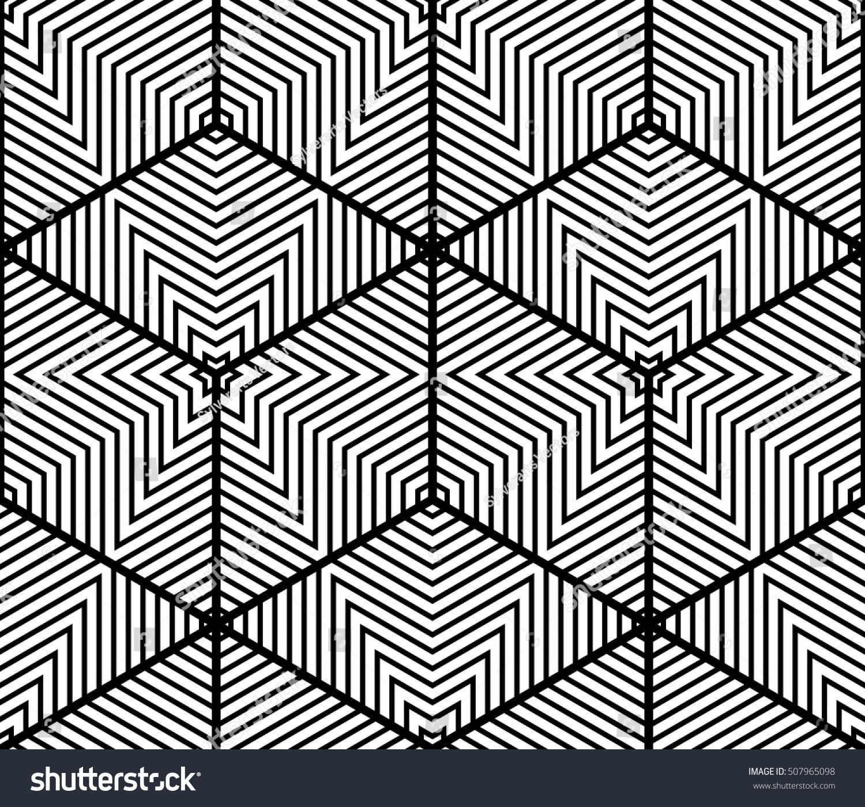 Seamless Optical Ornamental Pattern Threedimensional Geometric Stock Vector