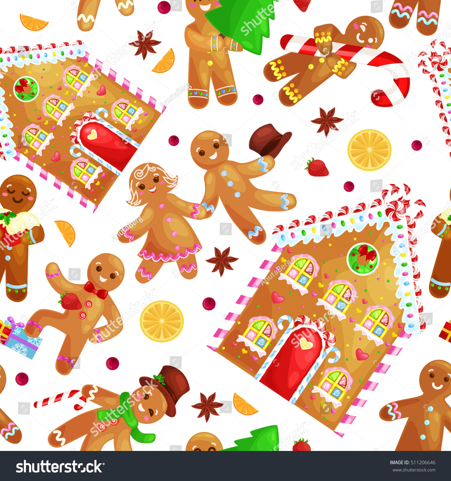 Seamless Pattern Thanksgiving Cookies Gingerbread Man