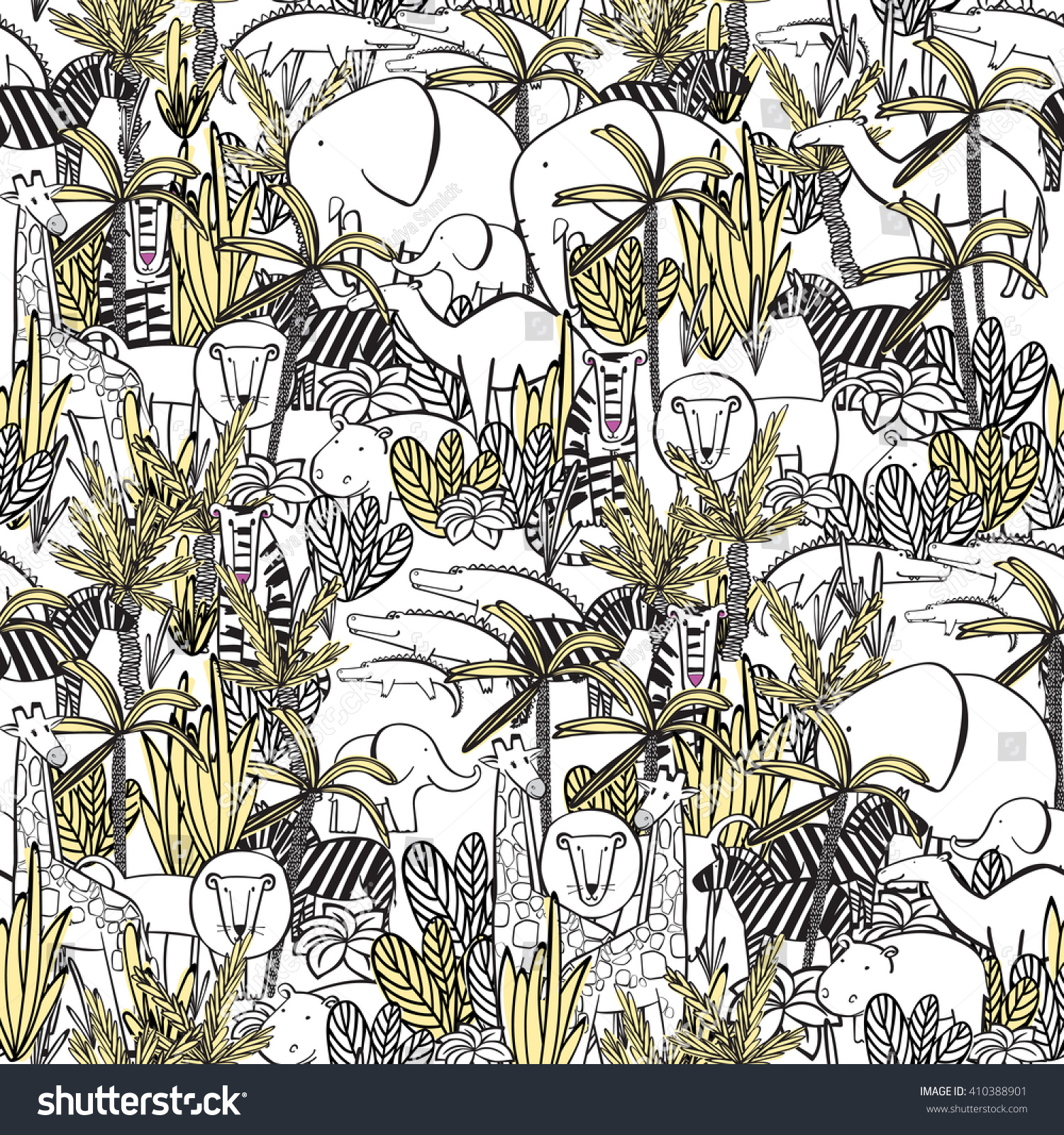 Seamless Pattern Wild Animals Jungle Thickets Stock Vector