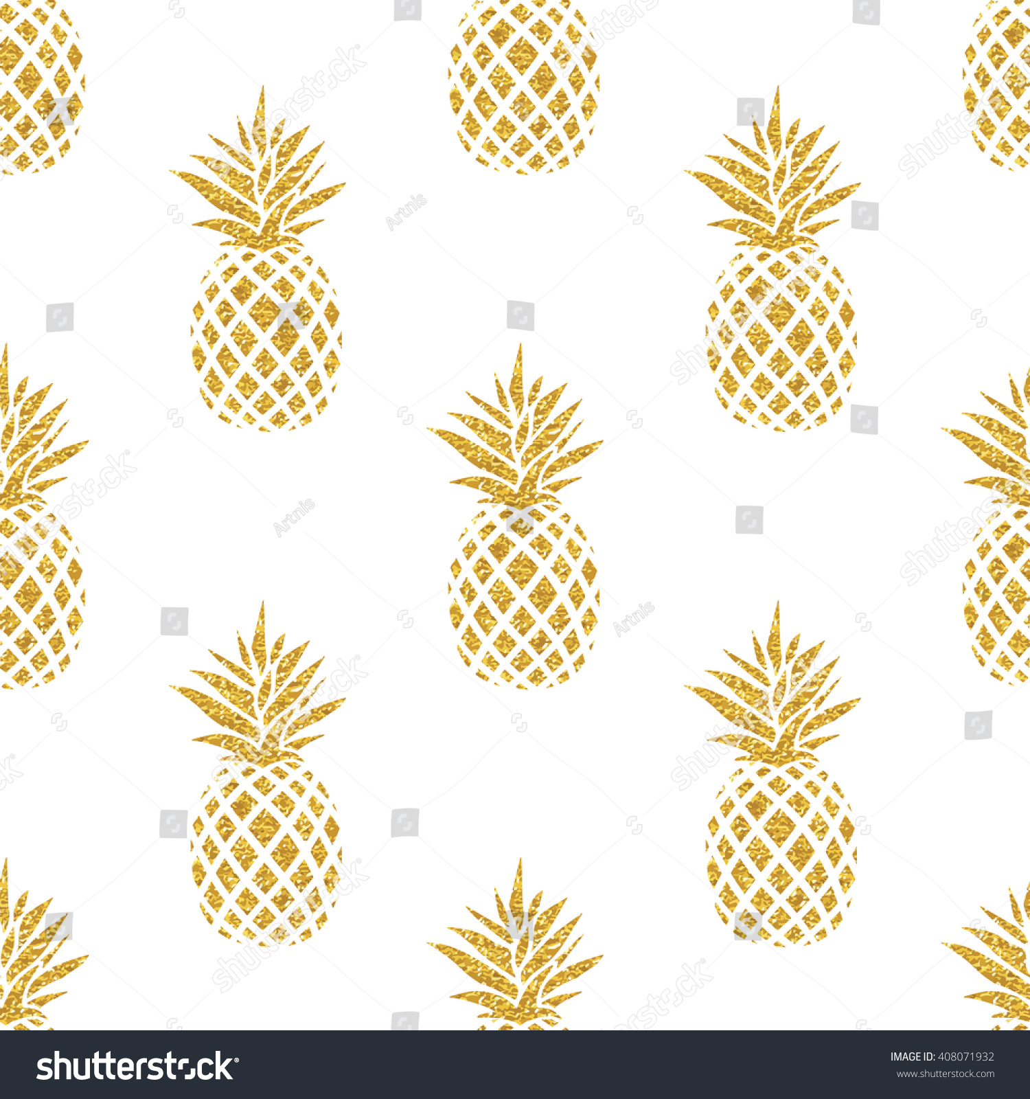 Stock Vector Seamless Summer Gold Pineapple On Colored Background Pattern In Fruit Illustration Jpg