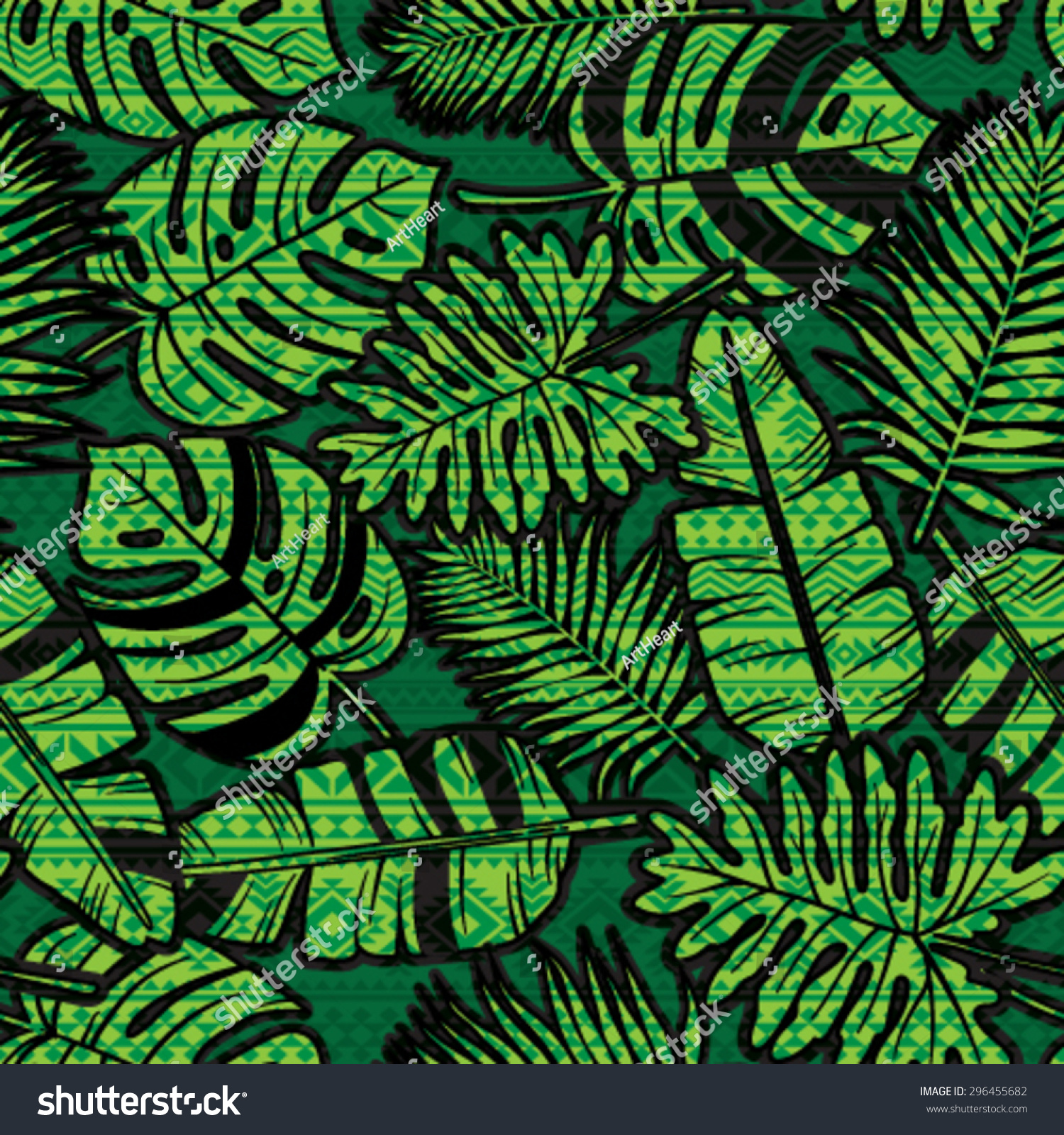 Seamless Tropical Jungle Pattern With Aztec Pattern
