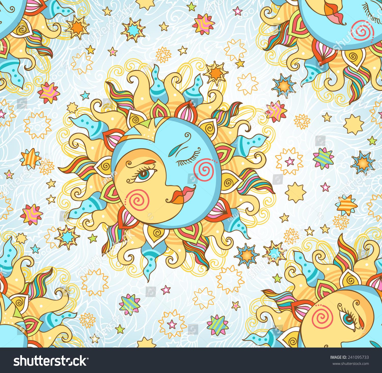 Seamless Vector Pattern Sun Moon Stars Stock Vector