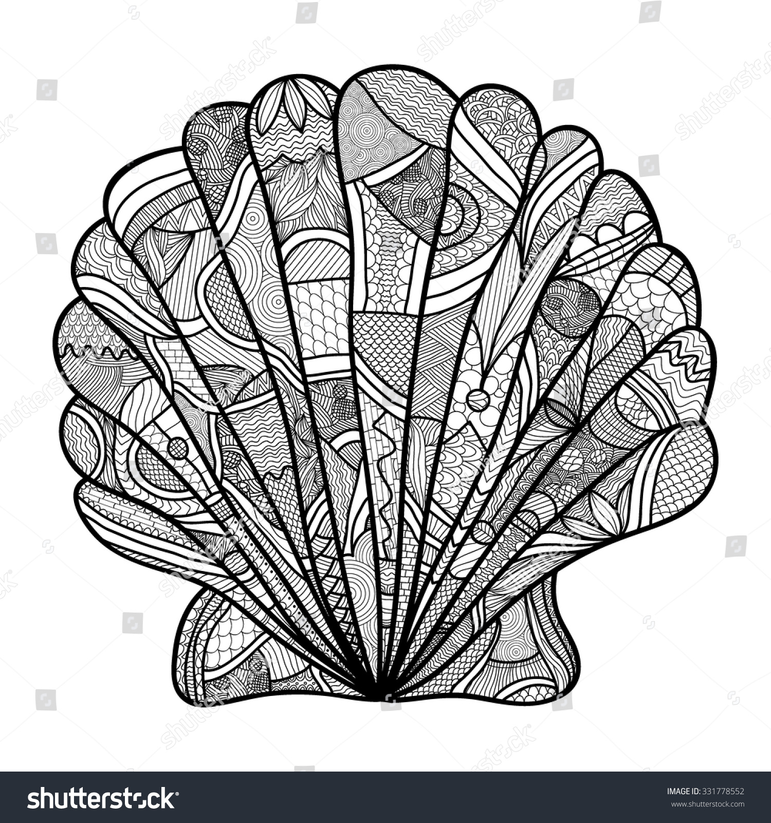 seashell hand drawn shell anti stress coloring page for adult with