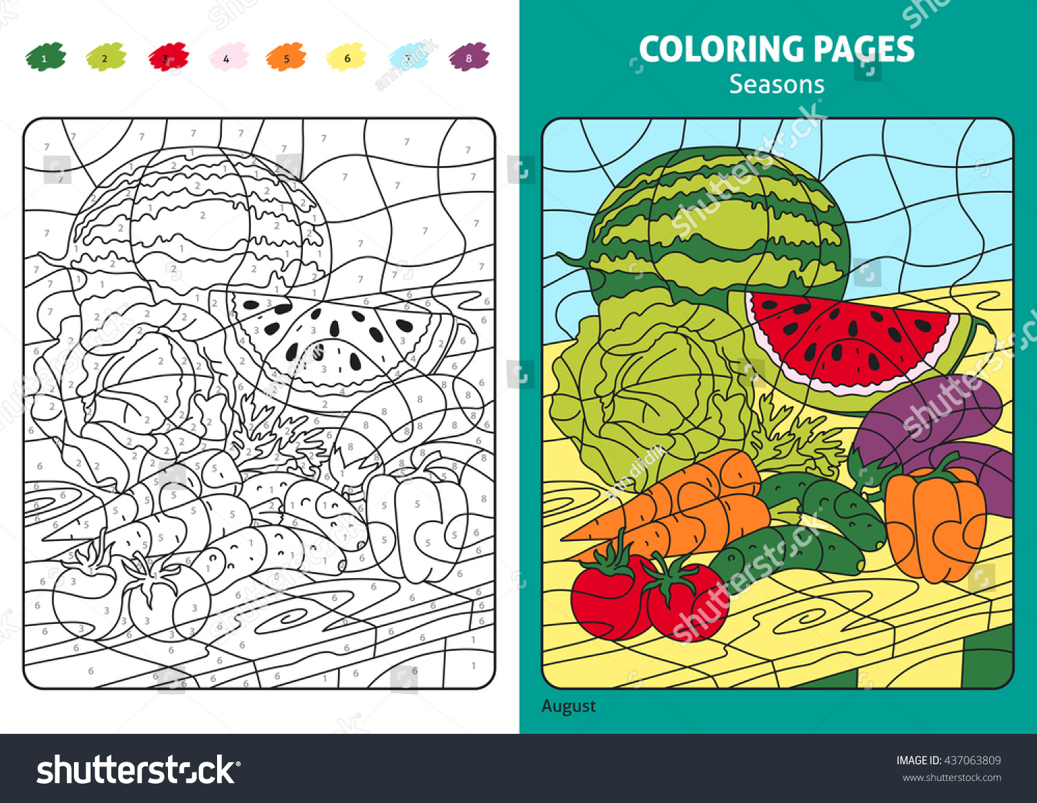 Seasons Coloring Page Kids August Monthprintable Stock