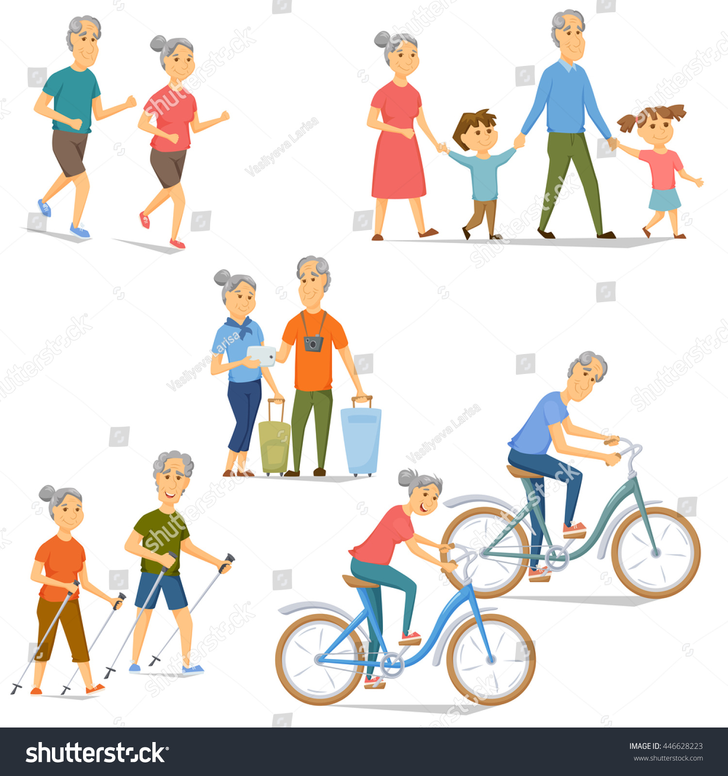 Seniors Leisure Activity Set Pensioners Bicycling Stock Vector