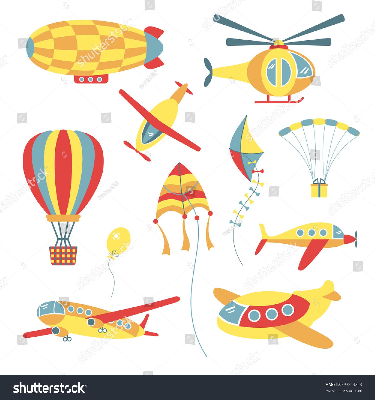 Set Air Transport Children Kite Balloon Stock Vector